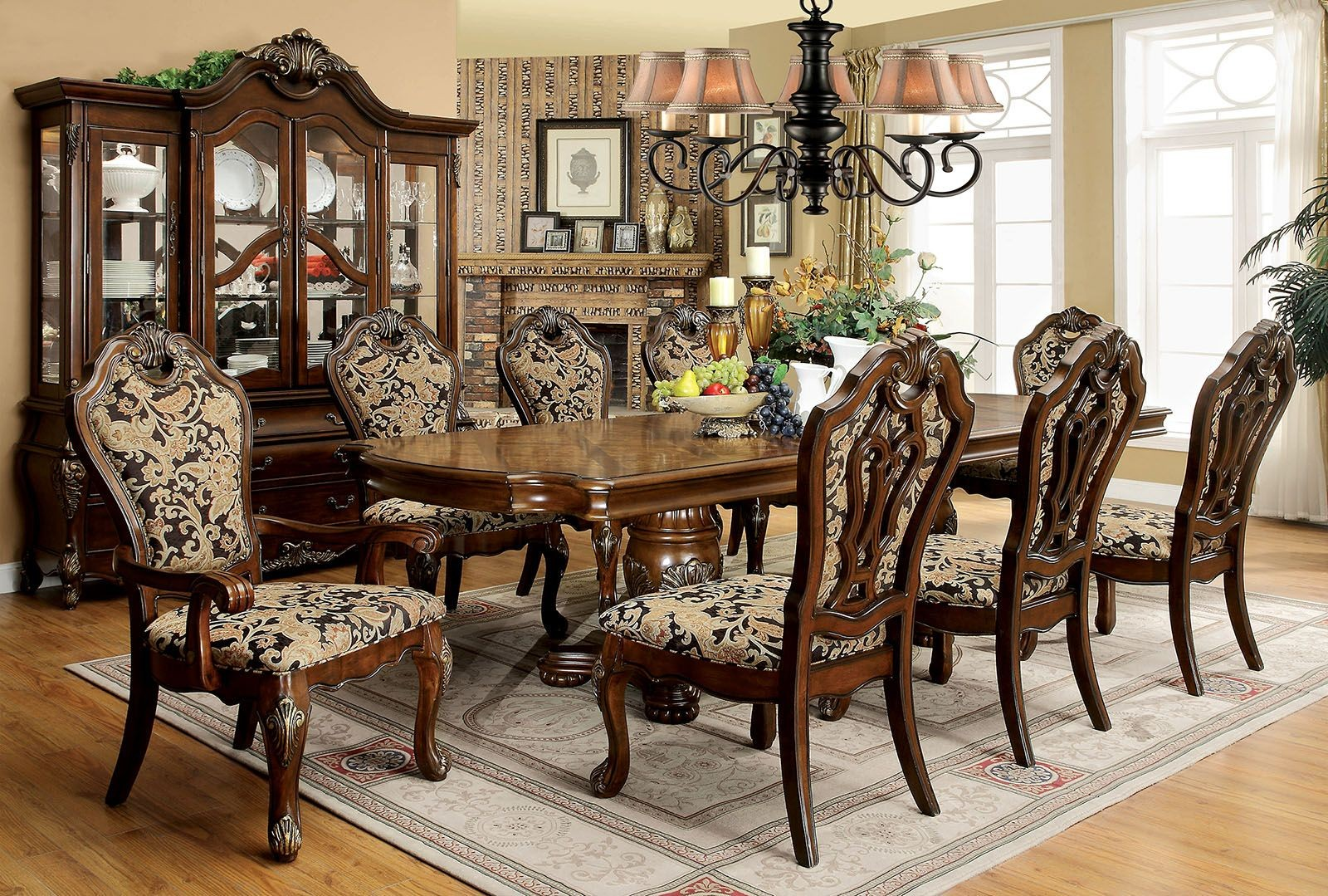 Vicente Cherry Extendable Rectangular Dining Room Set Cm3243t Furniture Of America