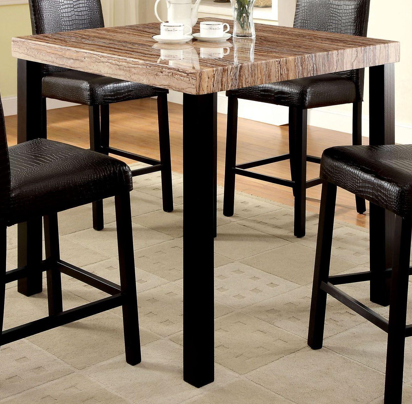 rockham ii black faux marble top square counter height leg. Black Bedroom Furniture Sets. Home Design Ideas