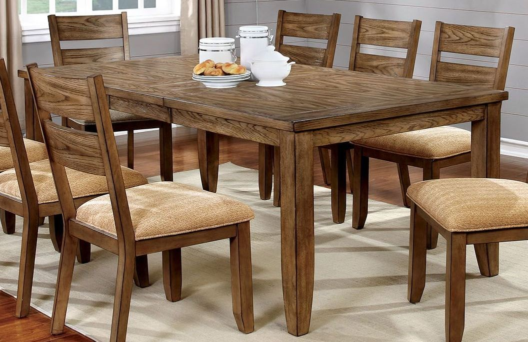 ava light oak dining room set cm3287t furniture of america