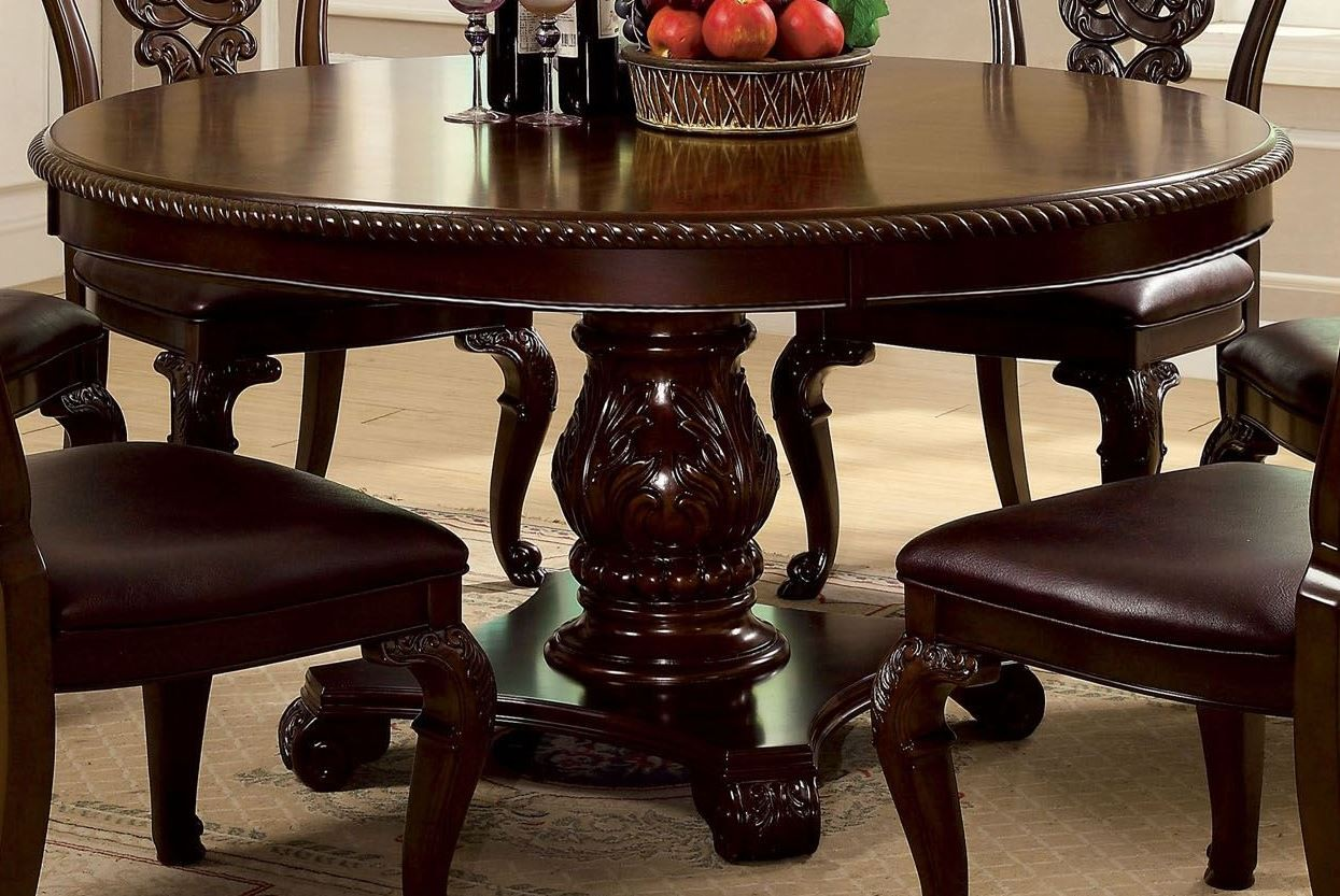 bellagio brown cherry round pedestal dining room set from furniture of america cm3319rt table. Black Bedroom Furniture Sets. Home Design Ideas