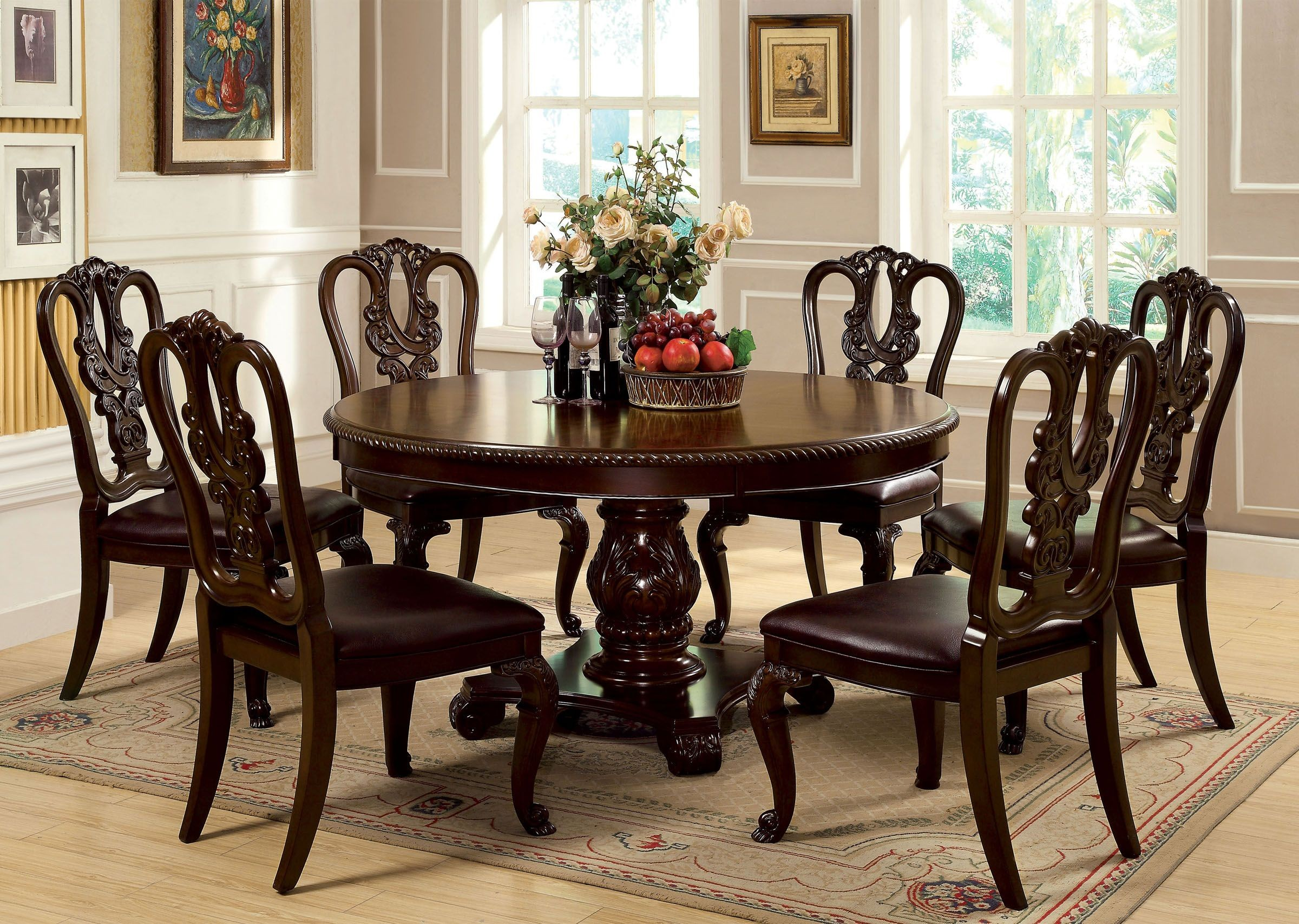 Bellagio brown cherry round pedestal dining room set from for Pedestal dining table and chairs