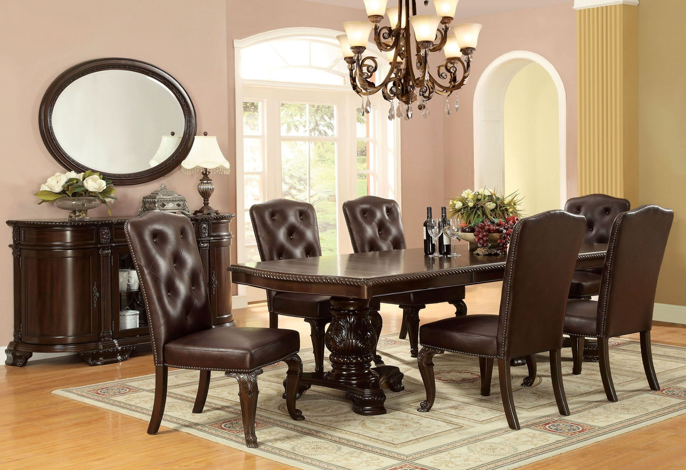 bellagio brown cherry rectangular extendable pedestal dining room set from furniture of america. Black Bedroom Furniture Sets. Home Design Ideas