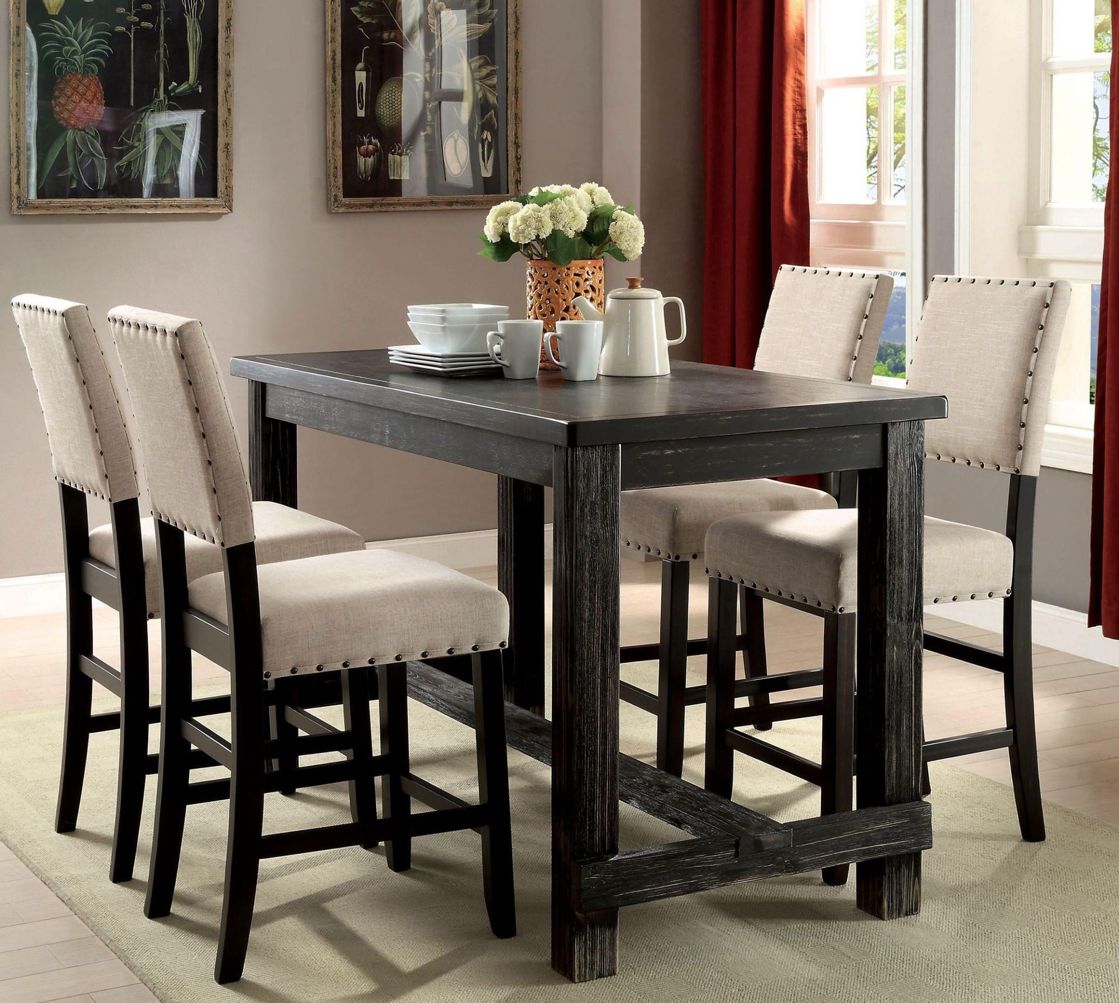 sania ii antique black counter height dining room set cm3324bk pt furniture of america. Black Bedroom Furniture Sets. Home Design Ideas
