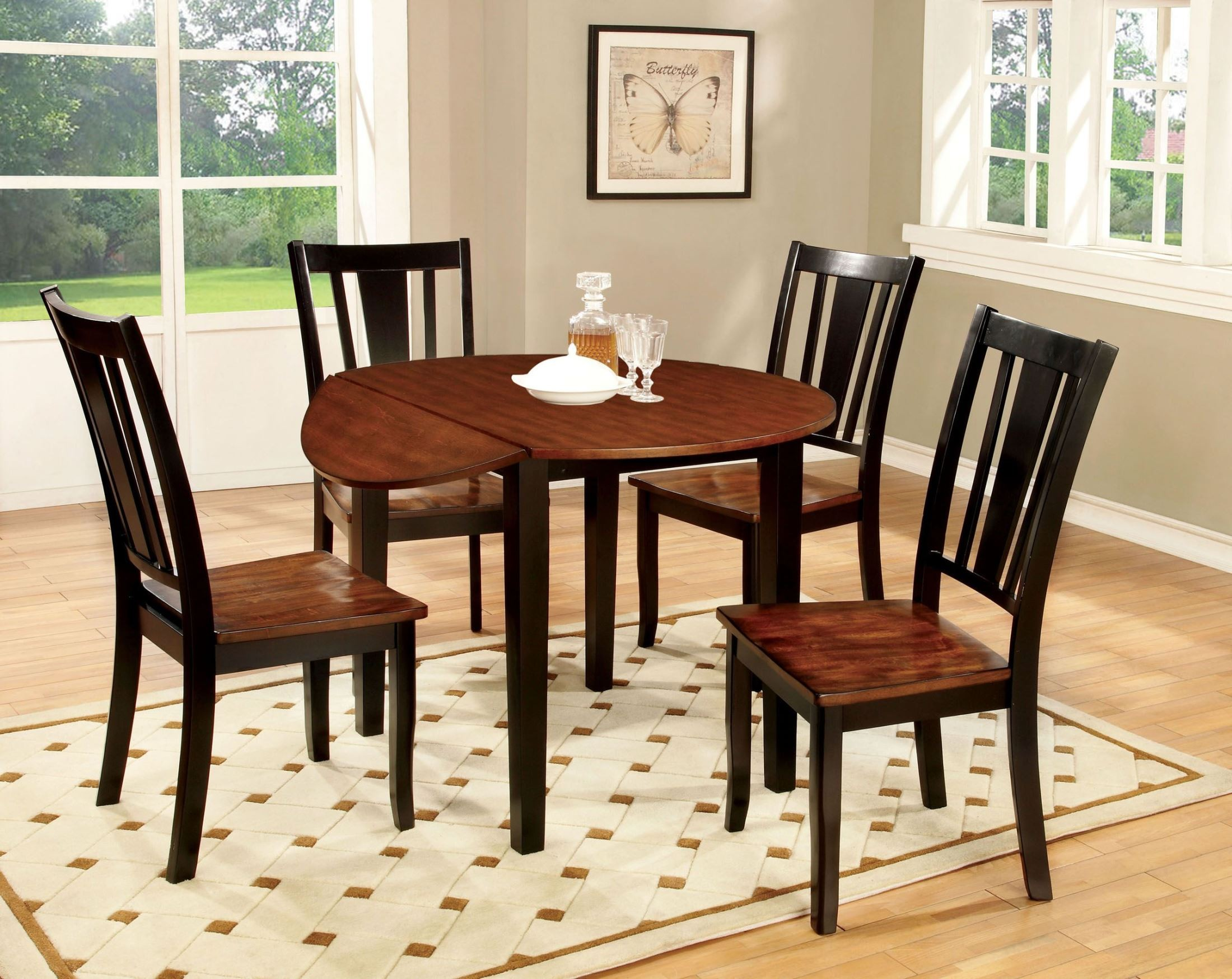 Dover ii black and cherry drop leaf round dining room set for Round dining room sets with leaf