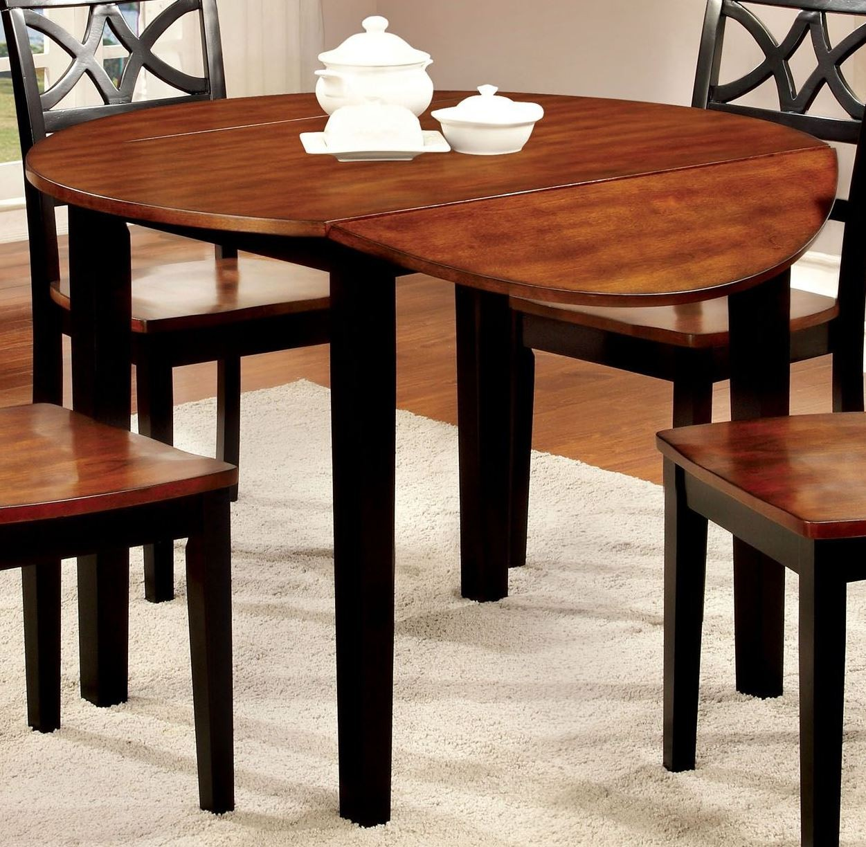 Dover ii black and cherry drop leaf round dining table for Black dining table with leaf