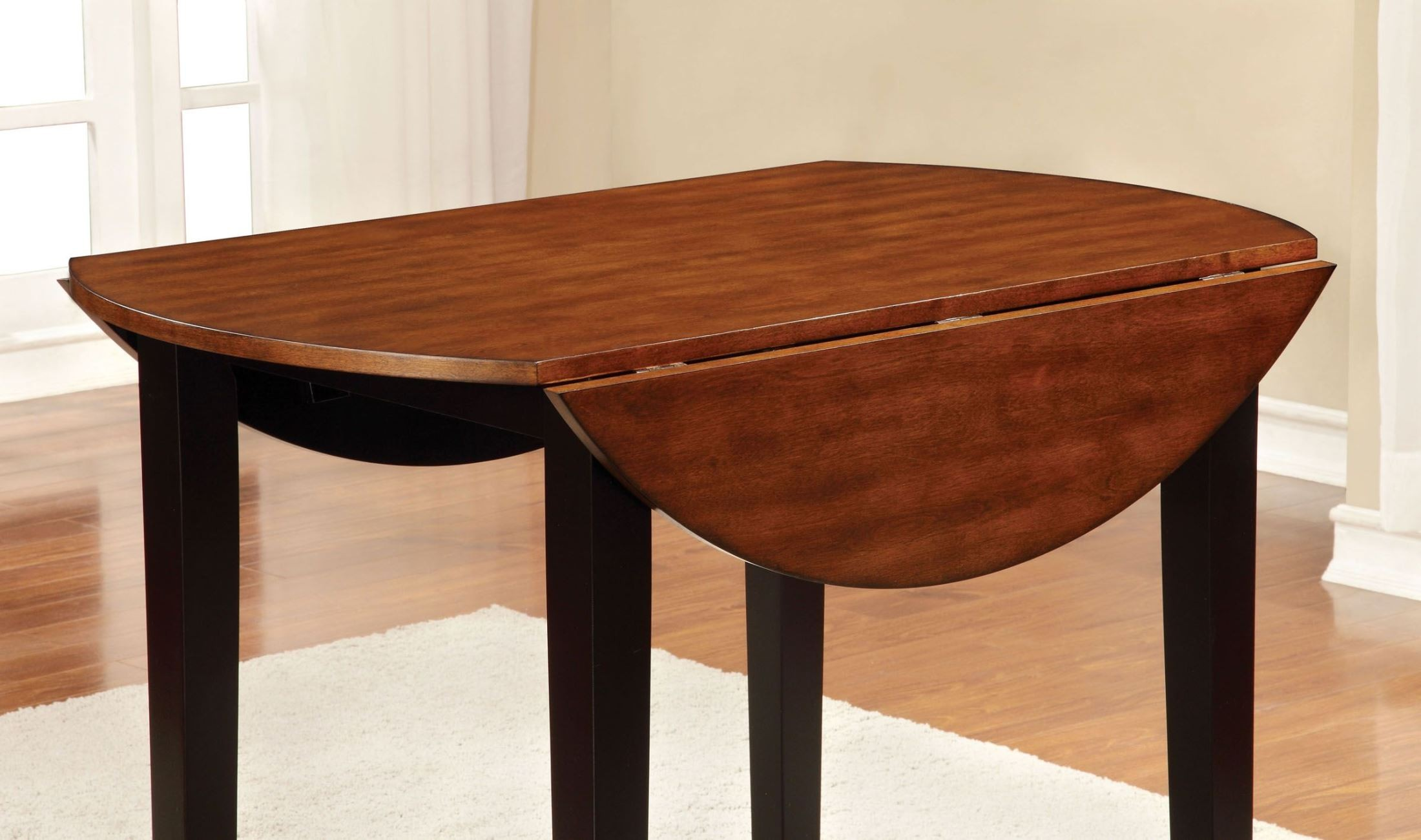 Dover ii black and cherry drop leaf round dining table for Black round dining table with leaf