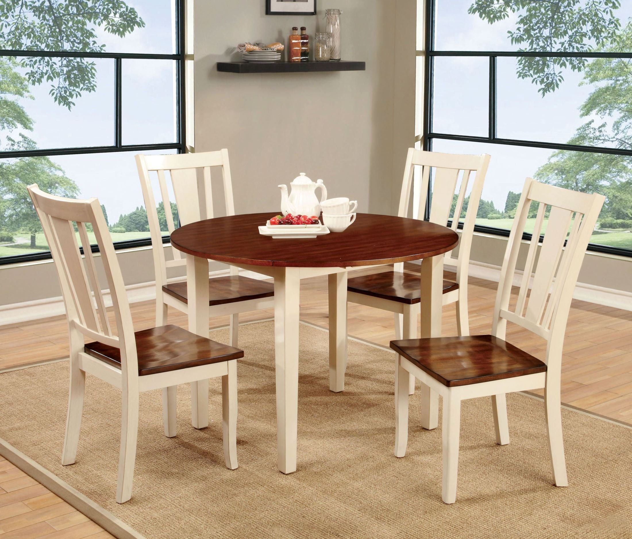 Dover II Vintage White and Cherry Drop Leaf Round Dining  : cm3326wc rt from colemanfurniture.com size 2200 x 1876 jpeg 840kB