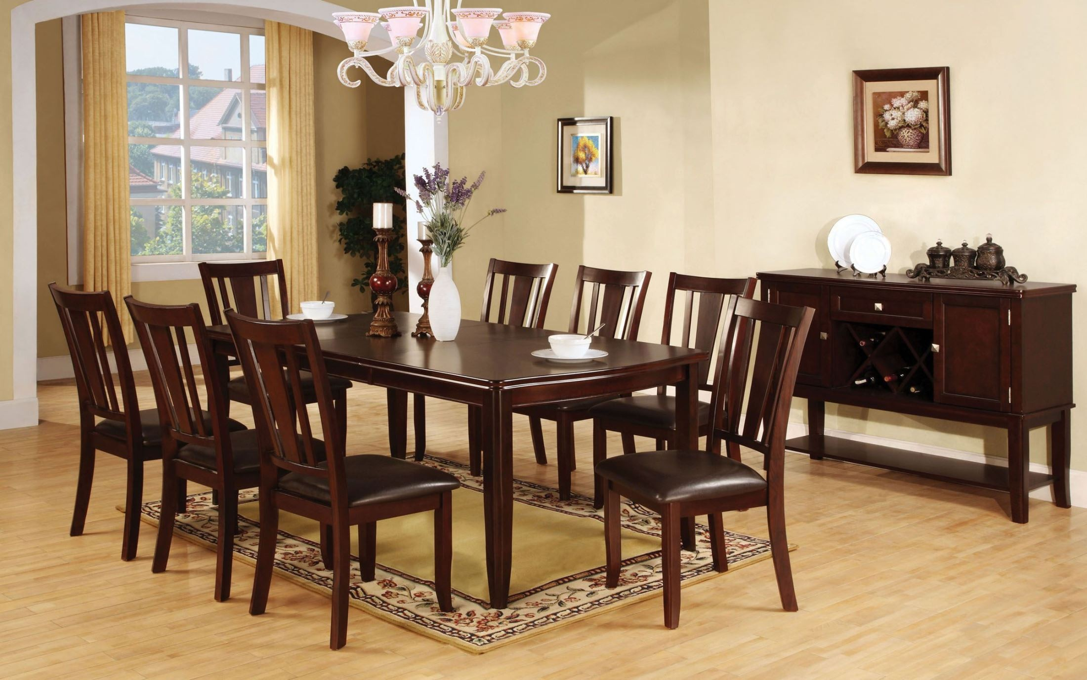 Edgewood I Espresso Rectangular Extendable Leg Dining Room Set CM3336T Furn