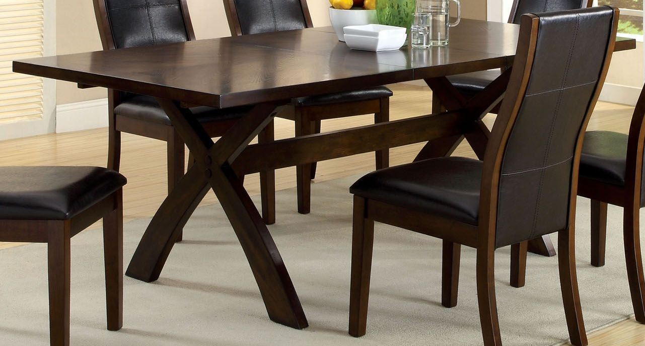Toronto dark oak rectangular extendable trestle dining room set from furniture of america - Dining room table toronto ...