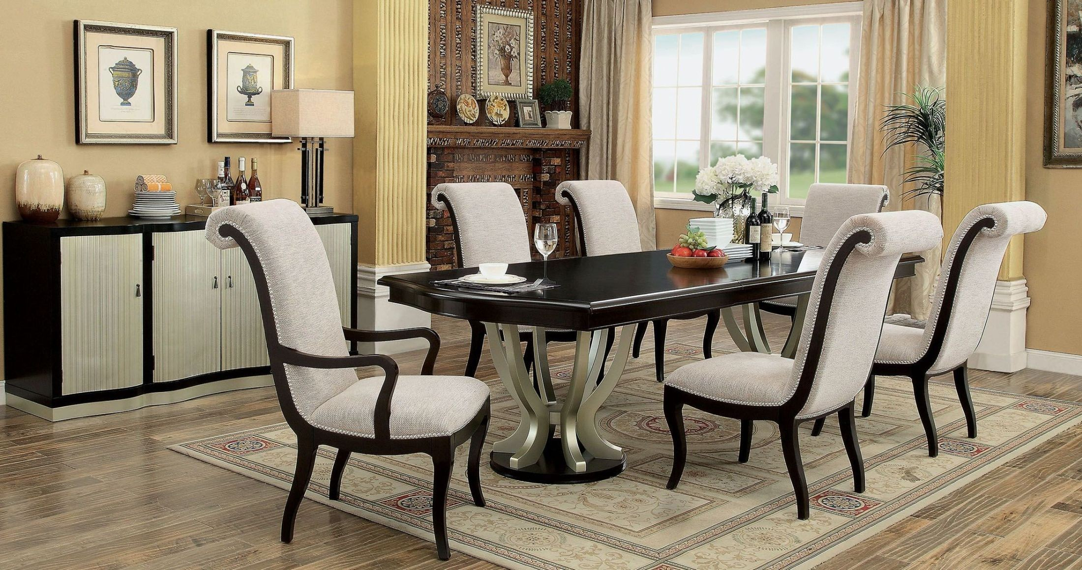 Ornette Espresso Extendable Rectangular Dining Room Set CM3353T TABLE Furni