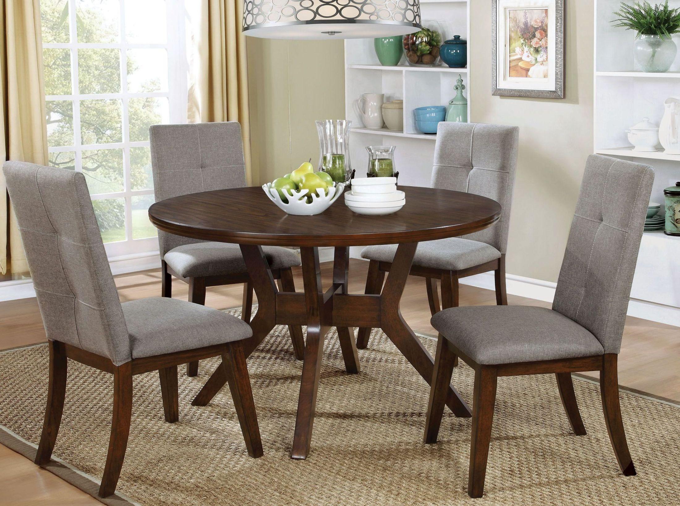 abelone walnut round dining room set cm3354rt furniture