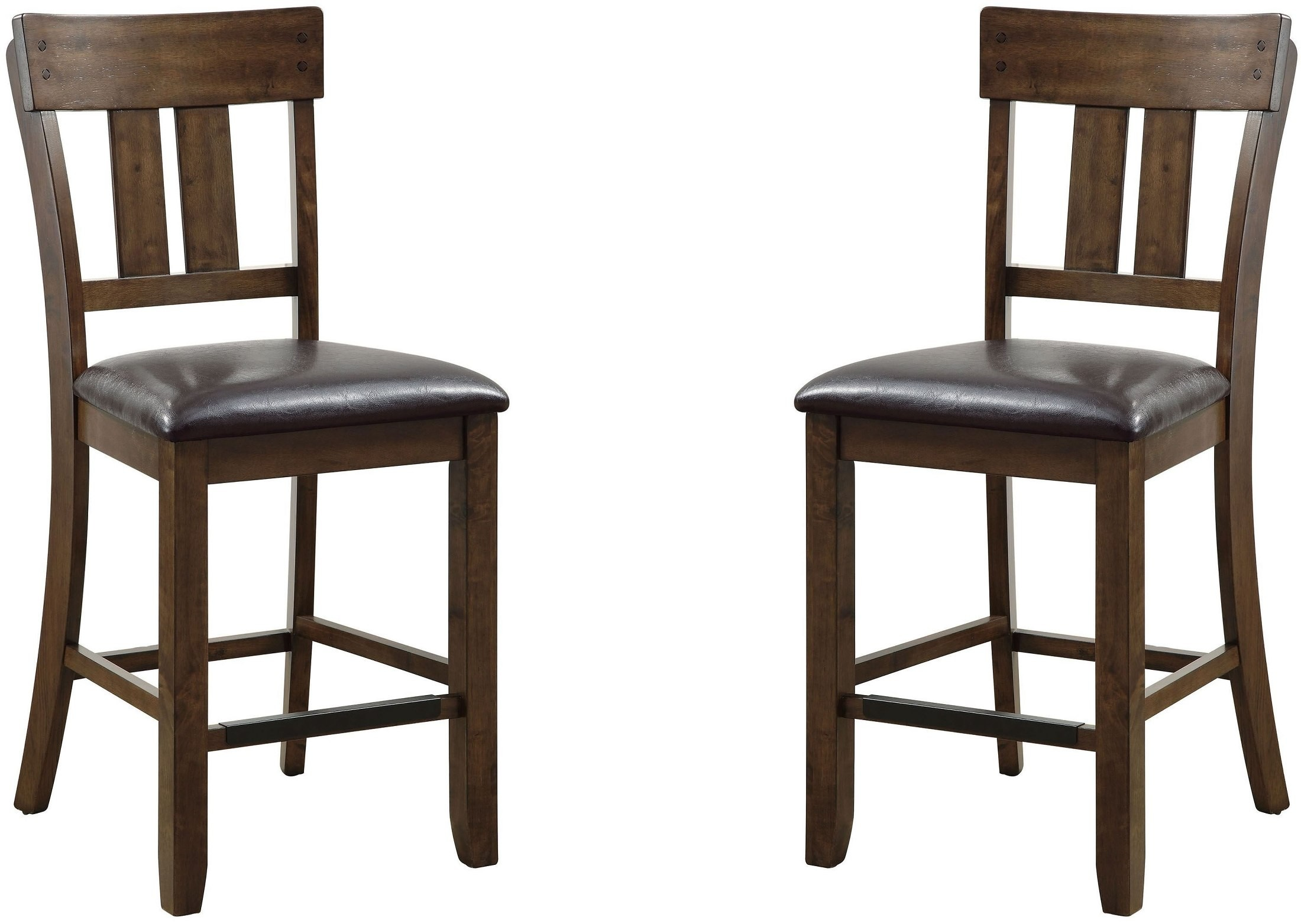Very Impressive portraiture of  Oak Counter Height Chair Set Of 2 CM3355PC 2PK Furniture of America with #3D2C20 color and 2200x1563 pixels