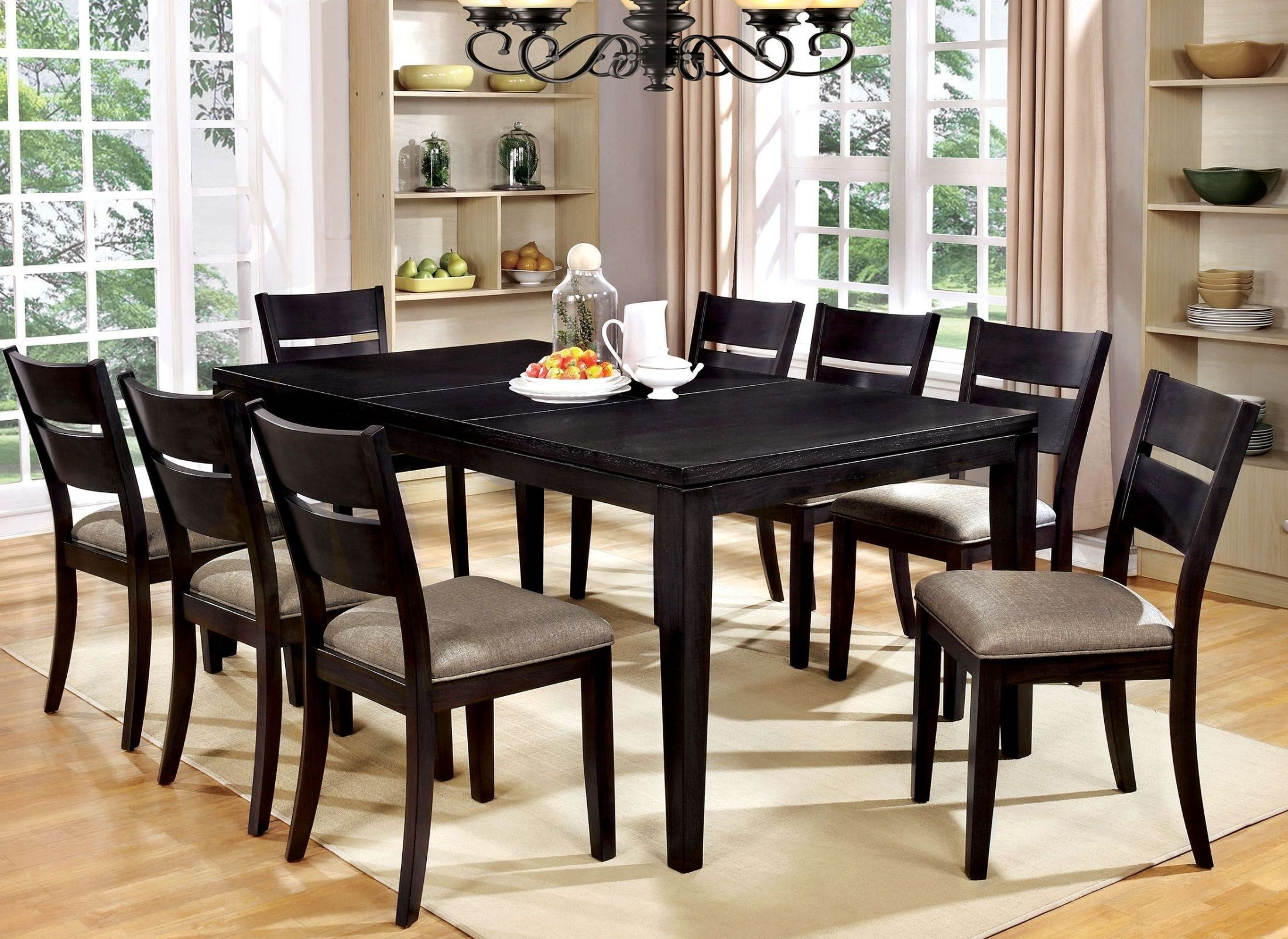 beresford dark gray extendable rectangular dining room set