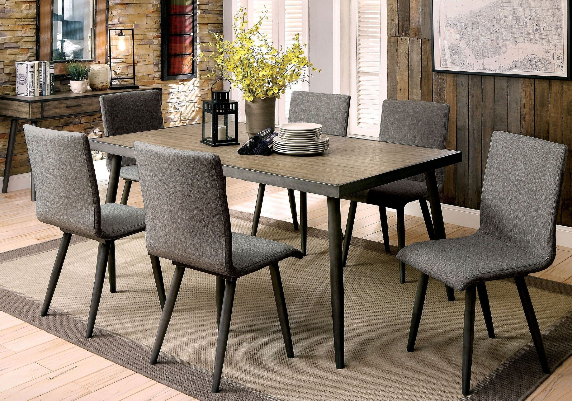 vilhelm i gray rectangular dining room set cm3360t furniture of