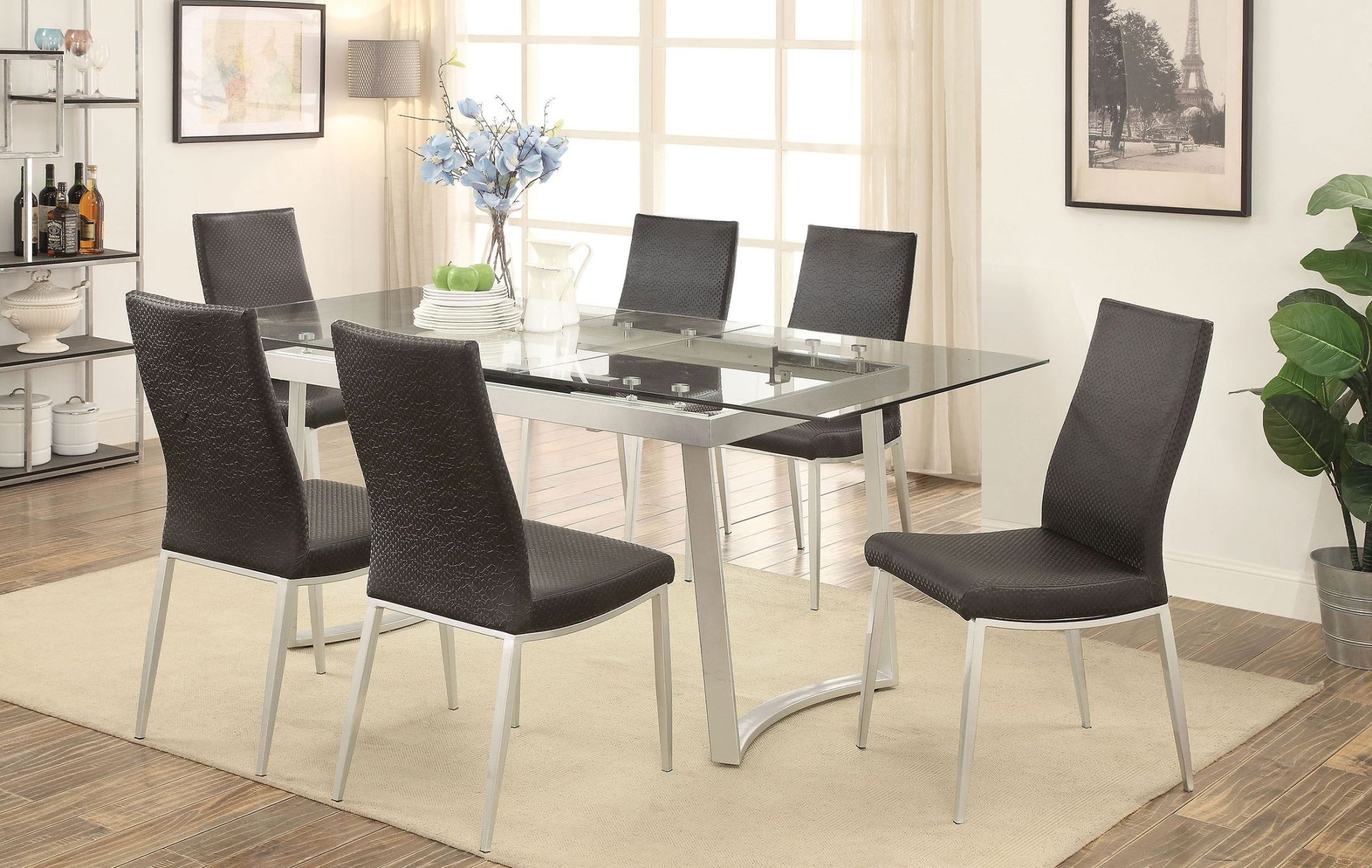 home miriam silver and black extendable rectangular dining room set