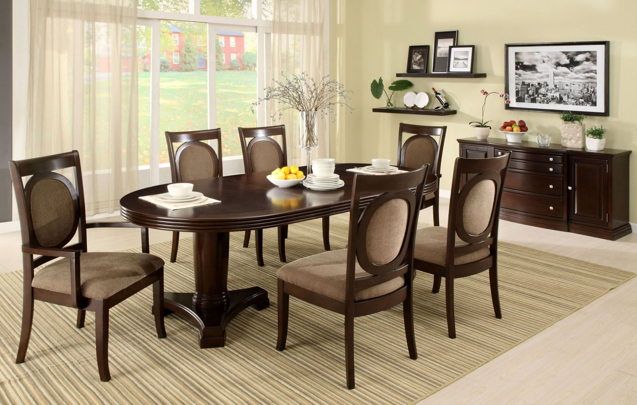 Evelyn Walnut Oval Extendable Pedestal Dining Table From Furniture Of