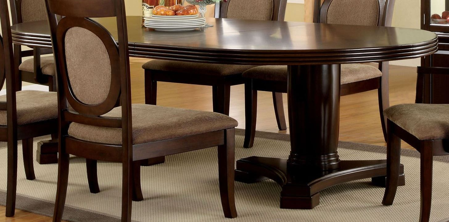 Evelyn walnut oval extendable pedestal dining room set for Oval pedestal dining table