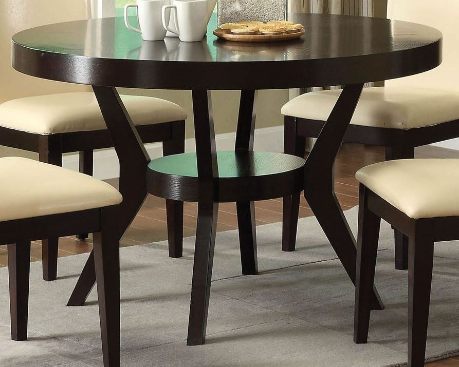 downtown i espresso round pedestal dining room set from