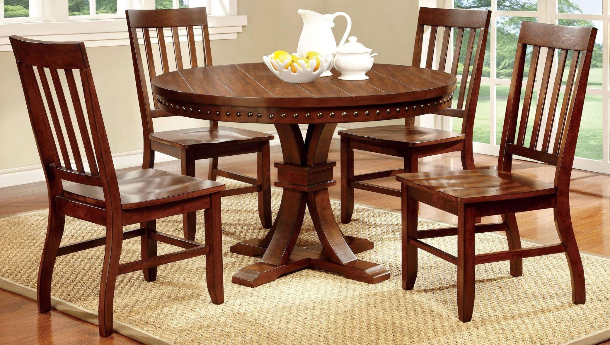 foster i dark oak round pedestal dining room set from furniture of america cm3437rt coleman. Black Bedroom Furniture Sets. Home Design Ideas