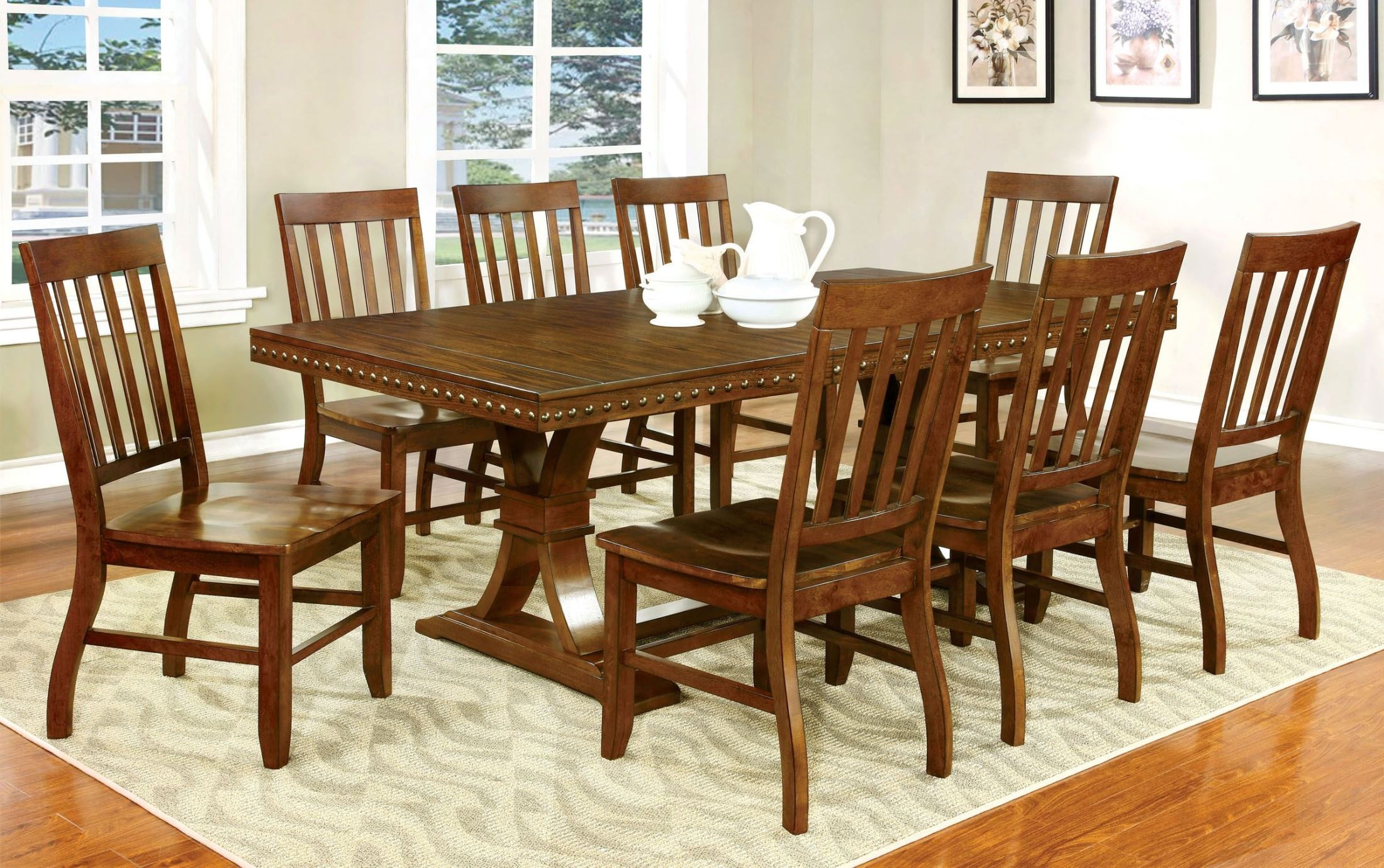 Foster i dark oak rectangular extendable trestle dining for Dining room t
