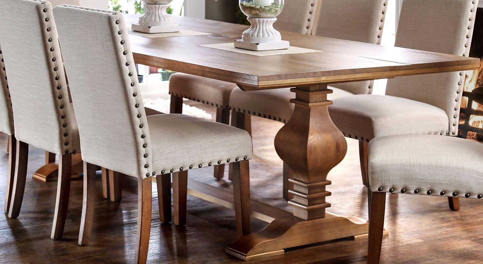 Macapa oak rectangular dining table cm3441t table furniture of america - Rectangular dining table for 6 ...