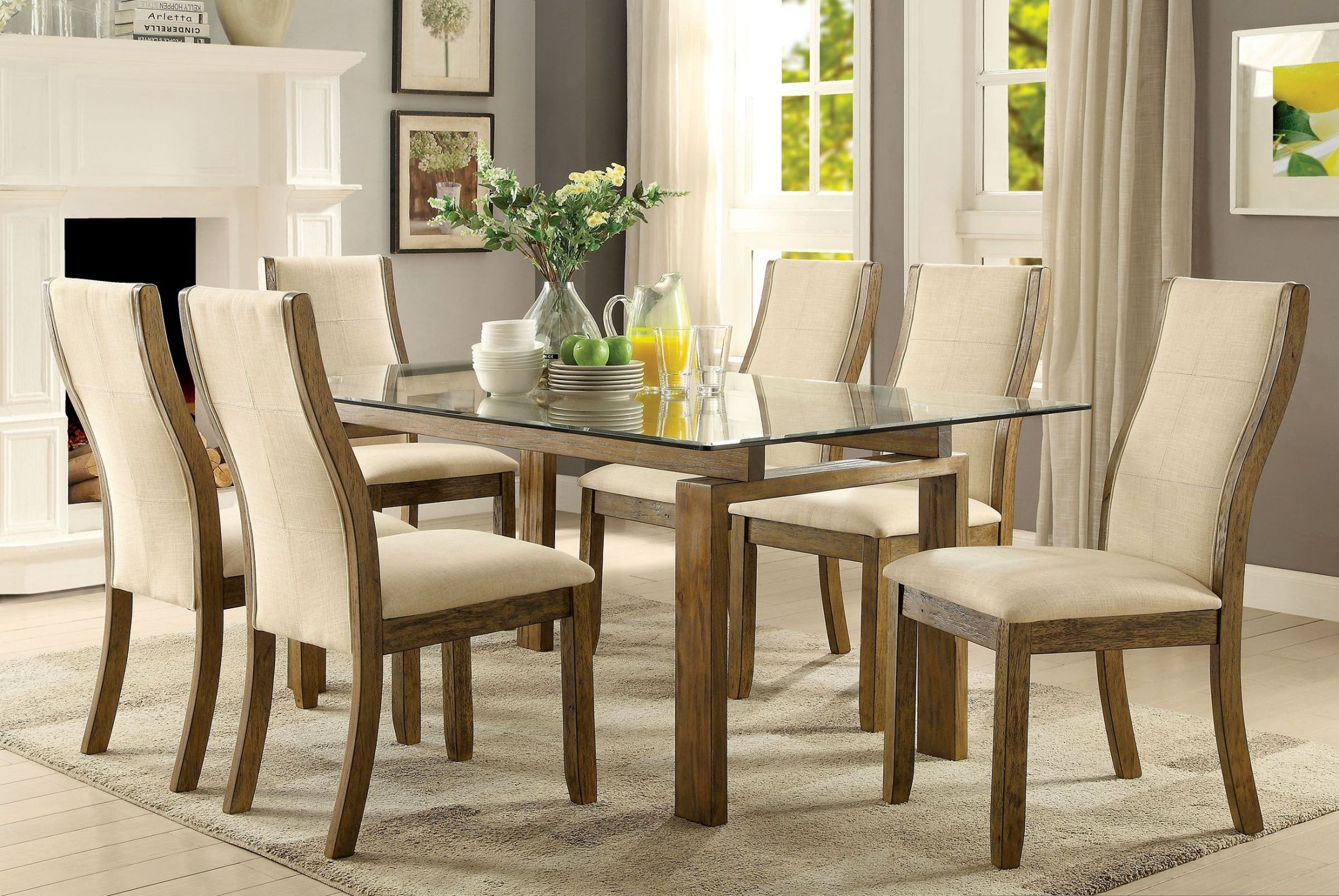 Onway oak rectangular glass top dining room set cm3461t for Glass dining room sets