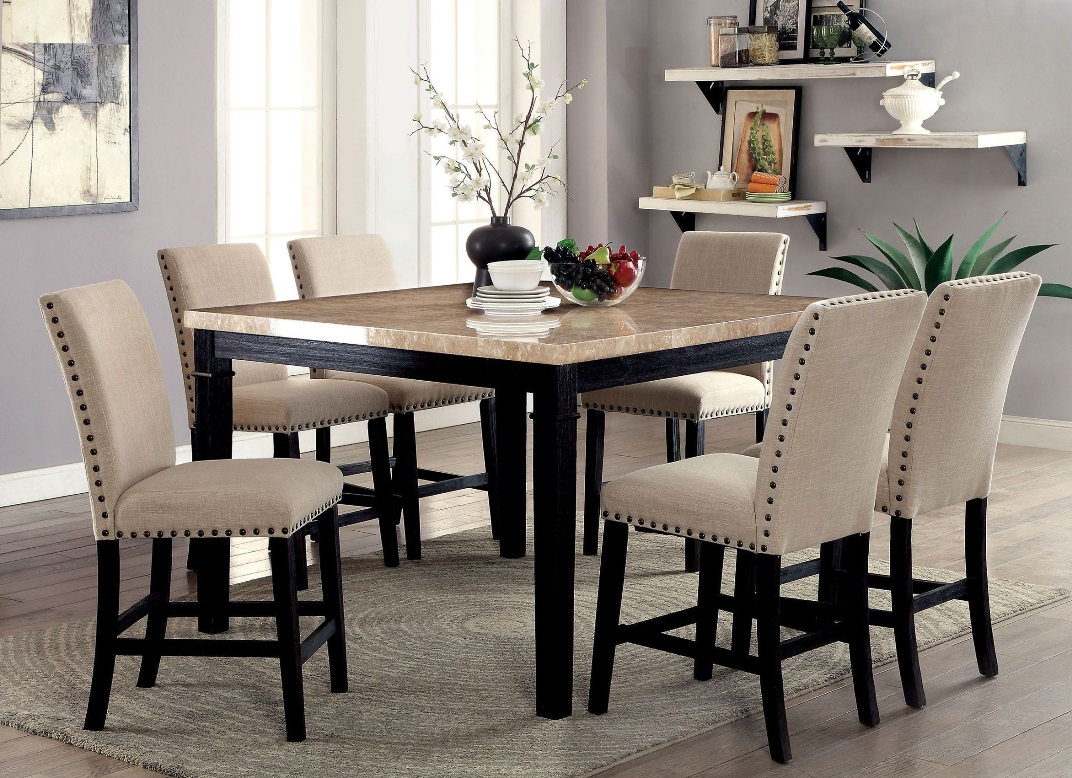 Dodson II Black Counter Height Dining Room Set CM3466PT Furniture Of America