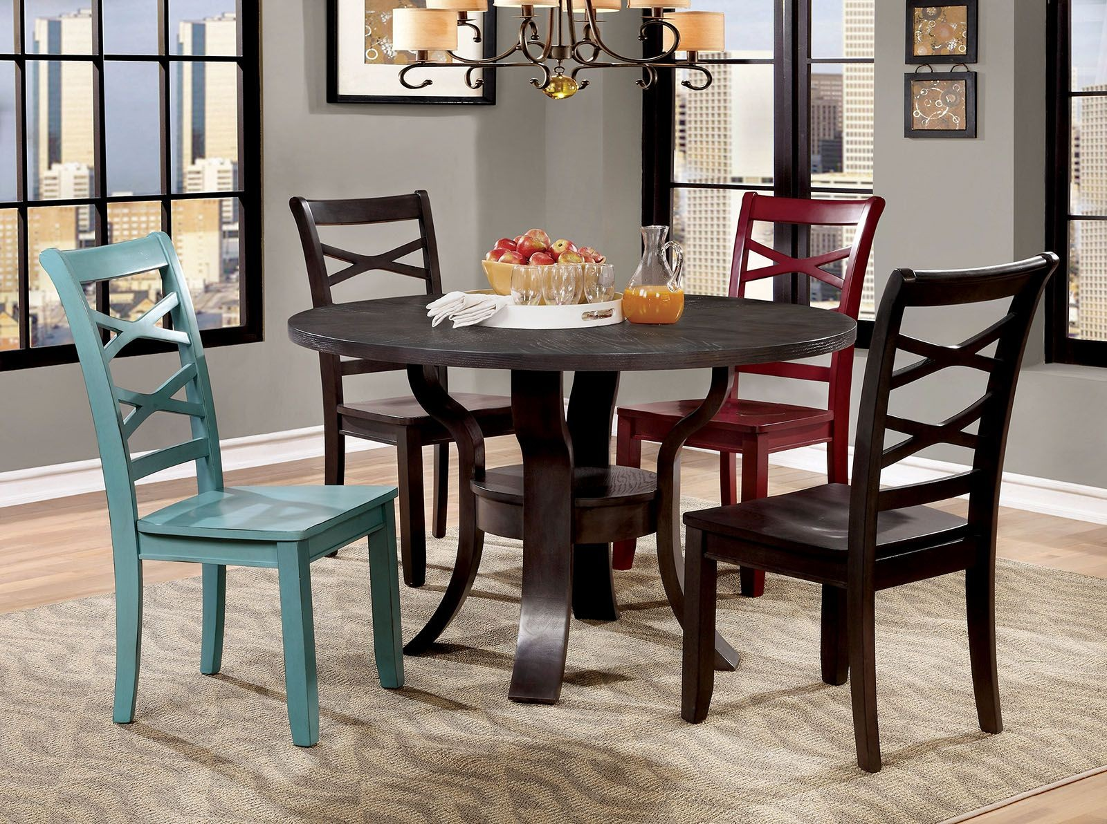 giselle espresso round dining room set cm3518rt