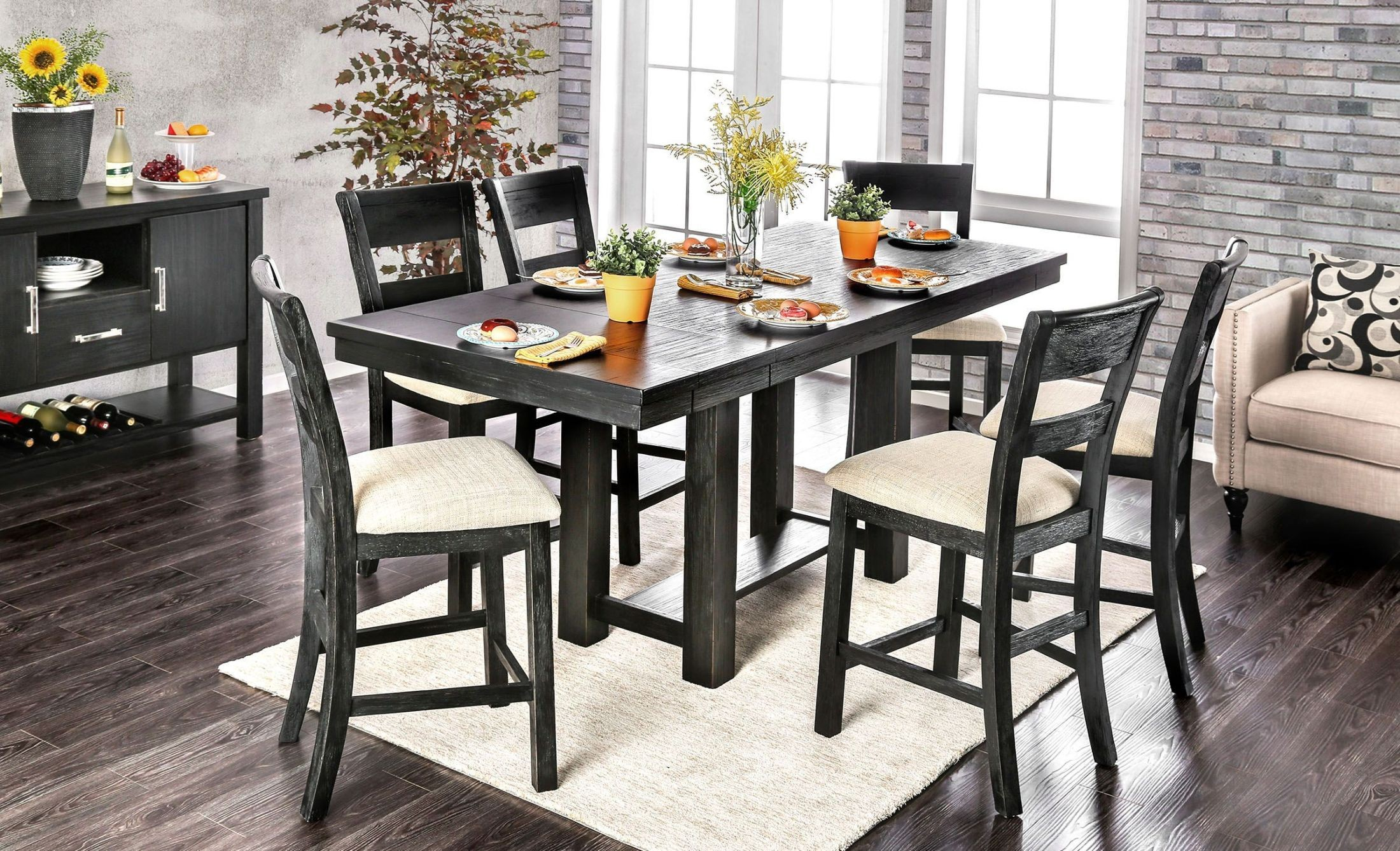 thomaston brushed black counter height dining room set cm3543pt table