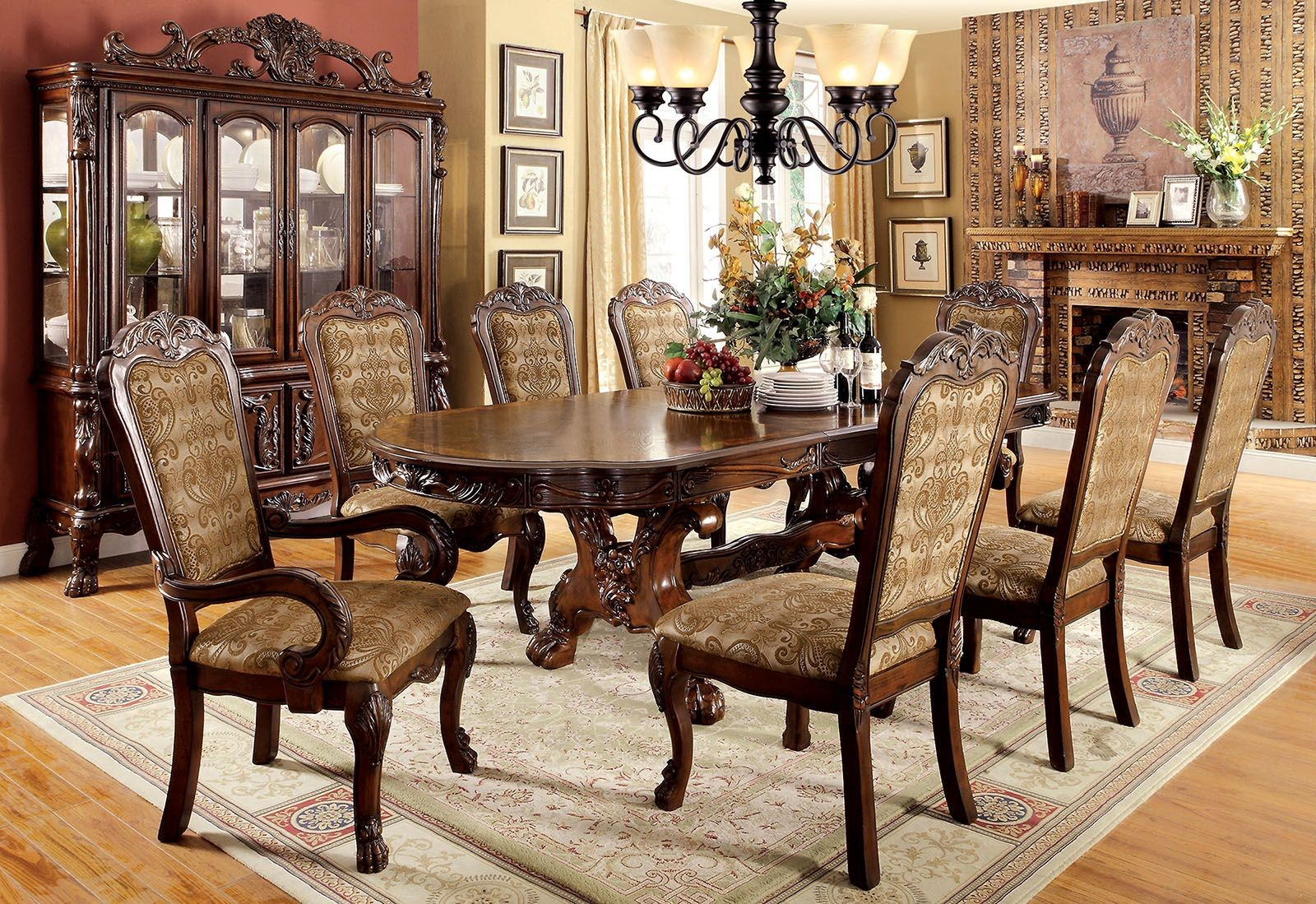 Medieve Cherry Extendable Rectangular Dining Room Set Cm3557ch T Furniture Of America