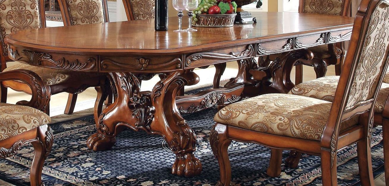 medieve antique oak rectangular extendable trestle dining table from furniture of america. Black Bedroom Furniture Sets. Home Design Ideas