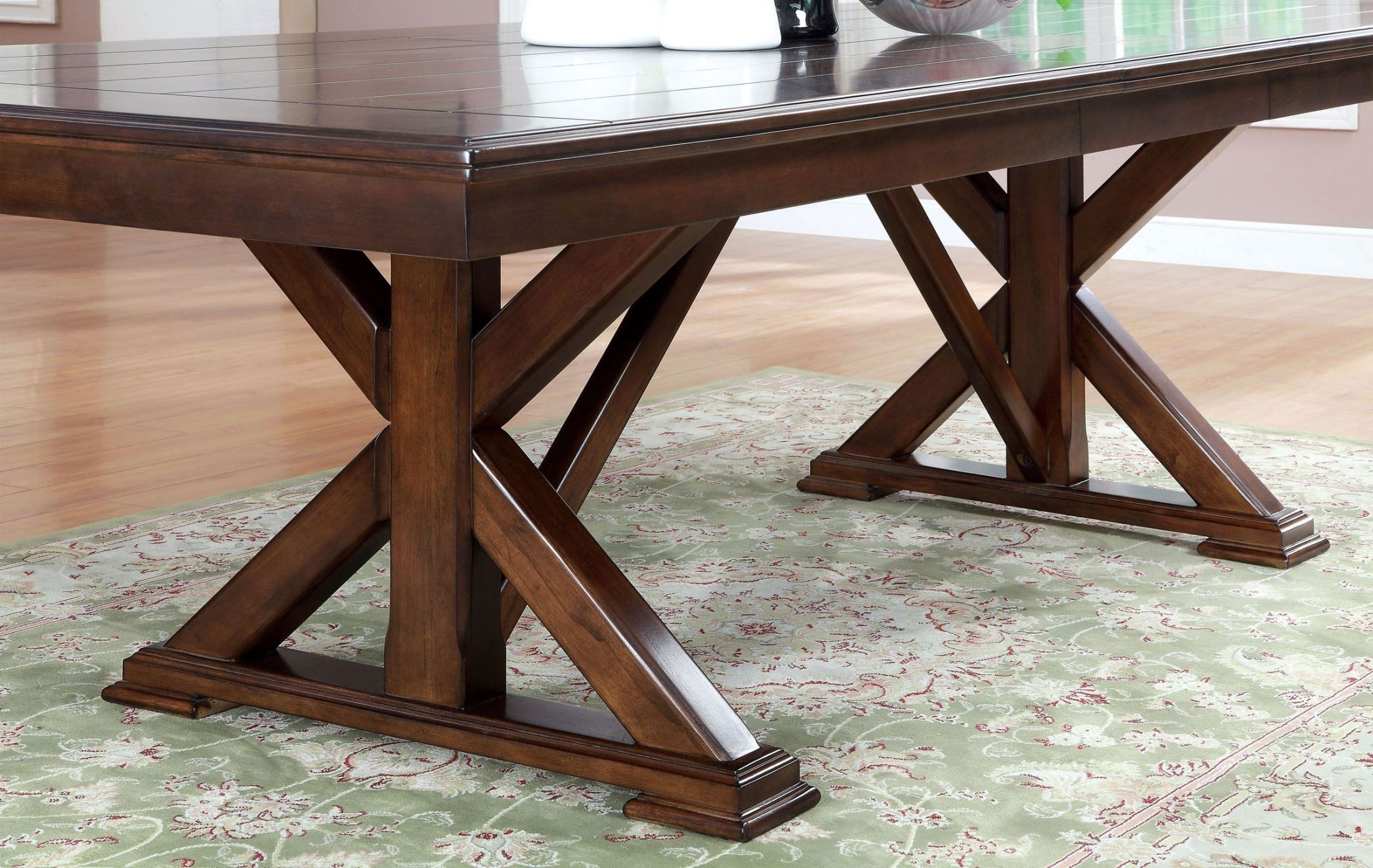 Descanso Brown Cherry Rectangular Extendable Trestle  : cm3558t table from colemanfurniture.com size 2200 x 1392 jpeg 683kB