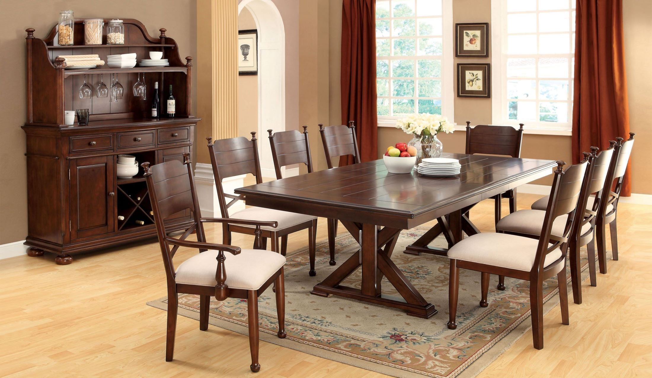 Descanso Brown Cherry Rectangular Extendable Trestle Dining Room Set From Fur