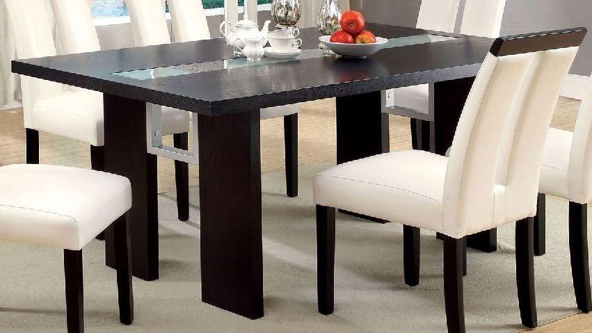 Luminar Glass Insert Rectangular Dining Table Cm3559t