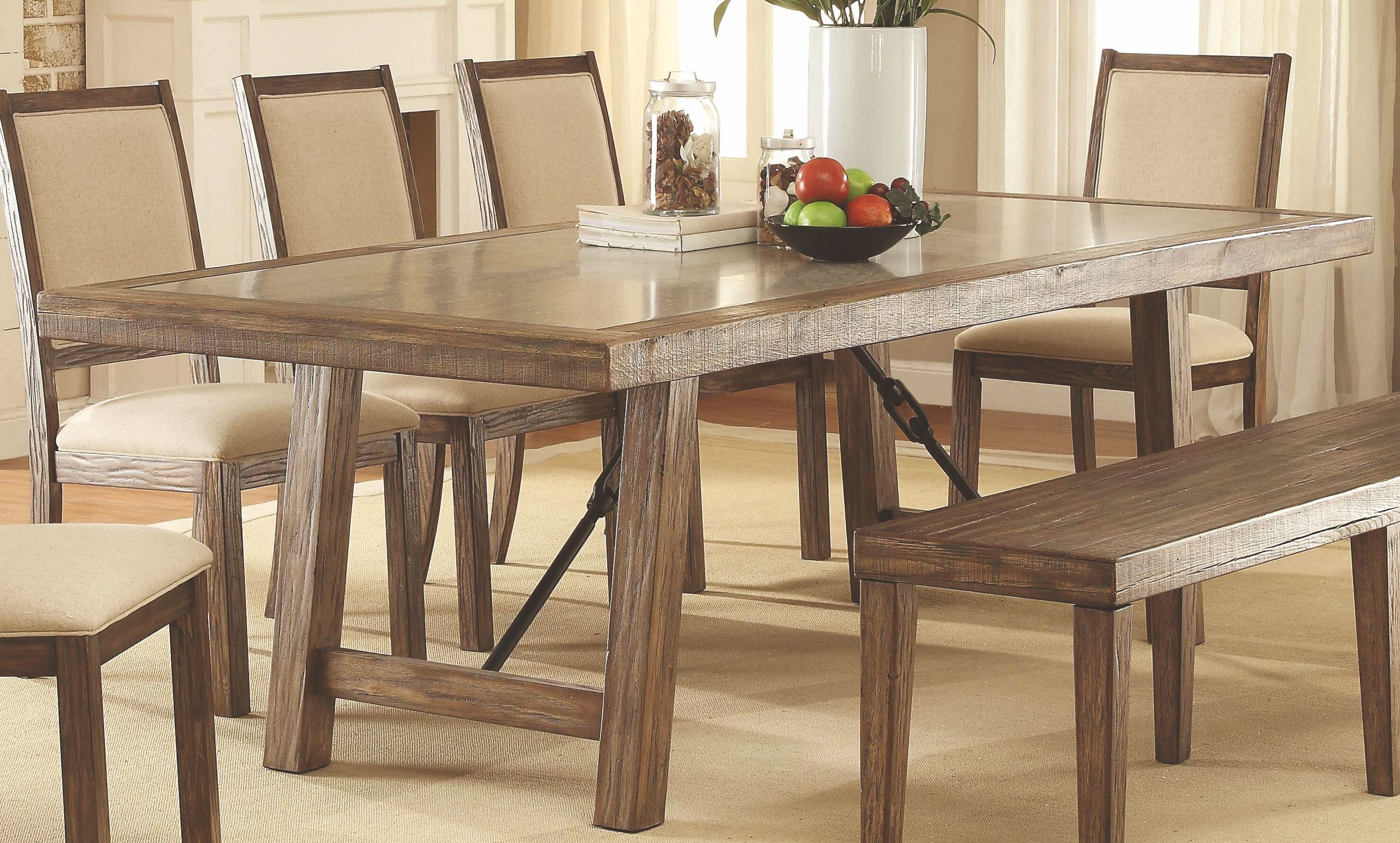 colettte rustic oak rectangular dining room set cm3562t furniture of