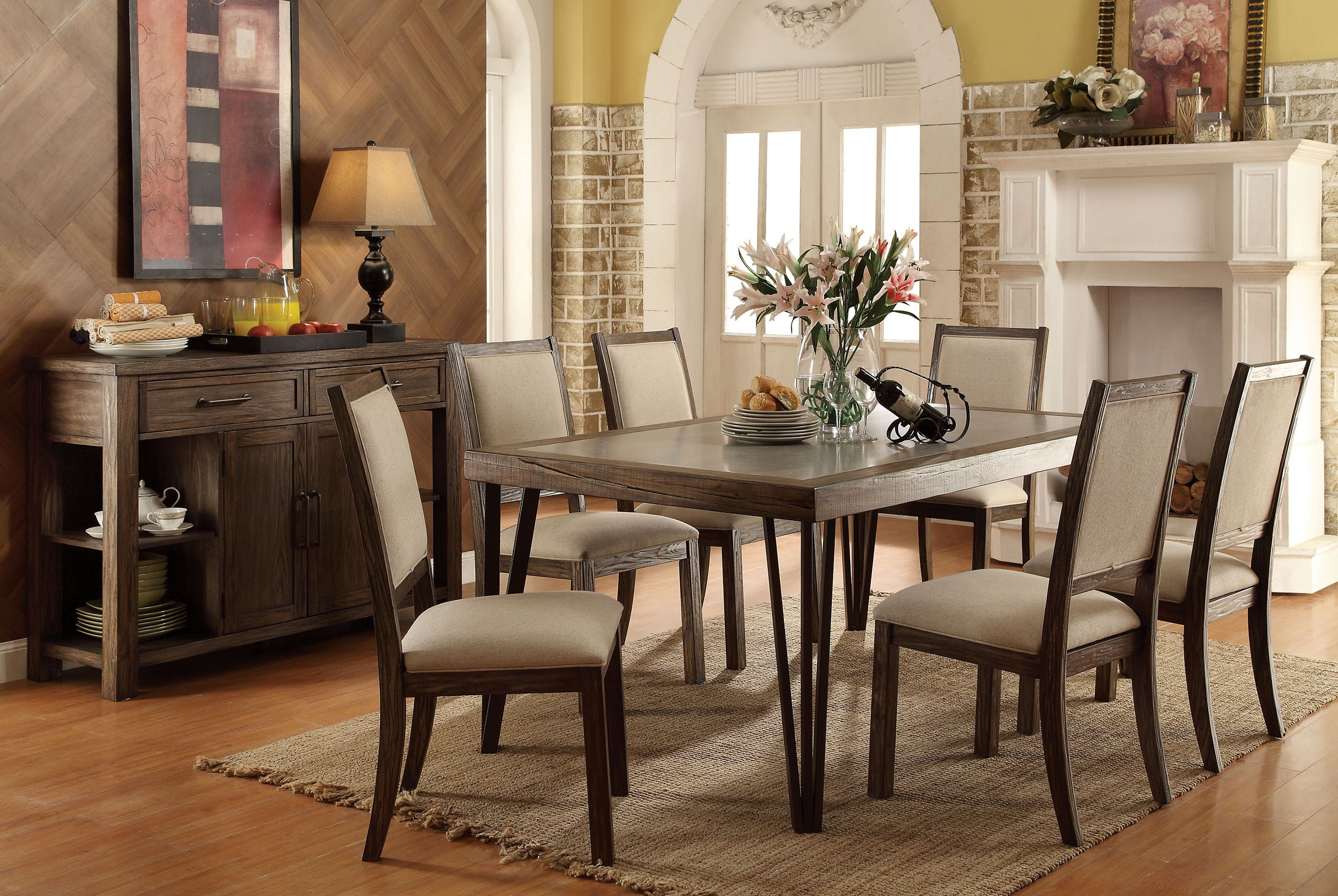 caithe rustic oak rectangular dining room set cm3563t furniture of america. Black Bedroom Furniture Sets. Home Design Ideas