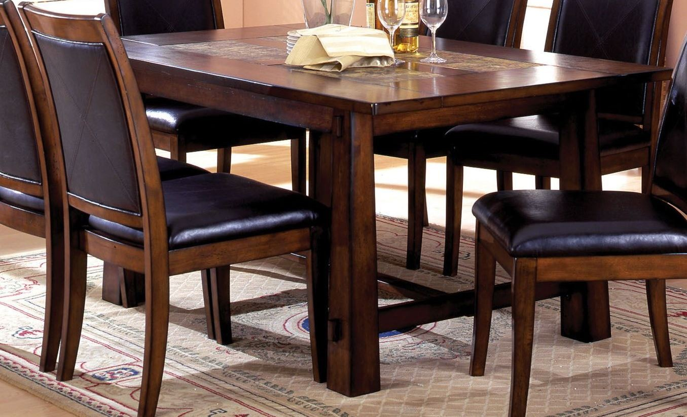 living stone i tobacco oak rectangular marble insert dining room set