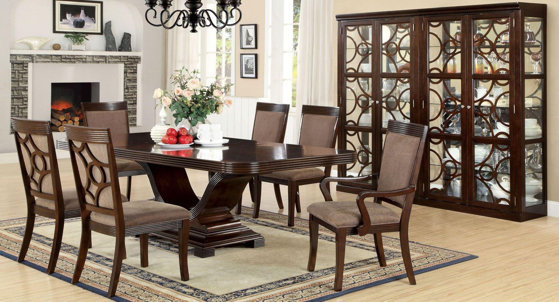 Woodmont walnut rectangular trestle dining room set from for Trestle dining room sets
