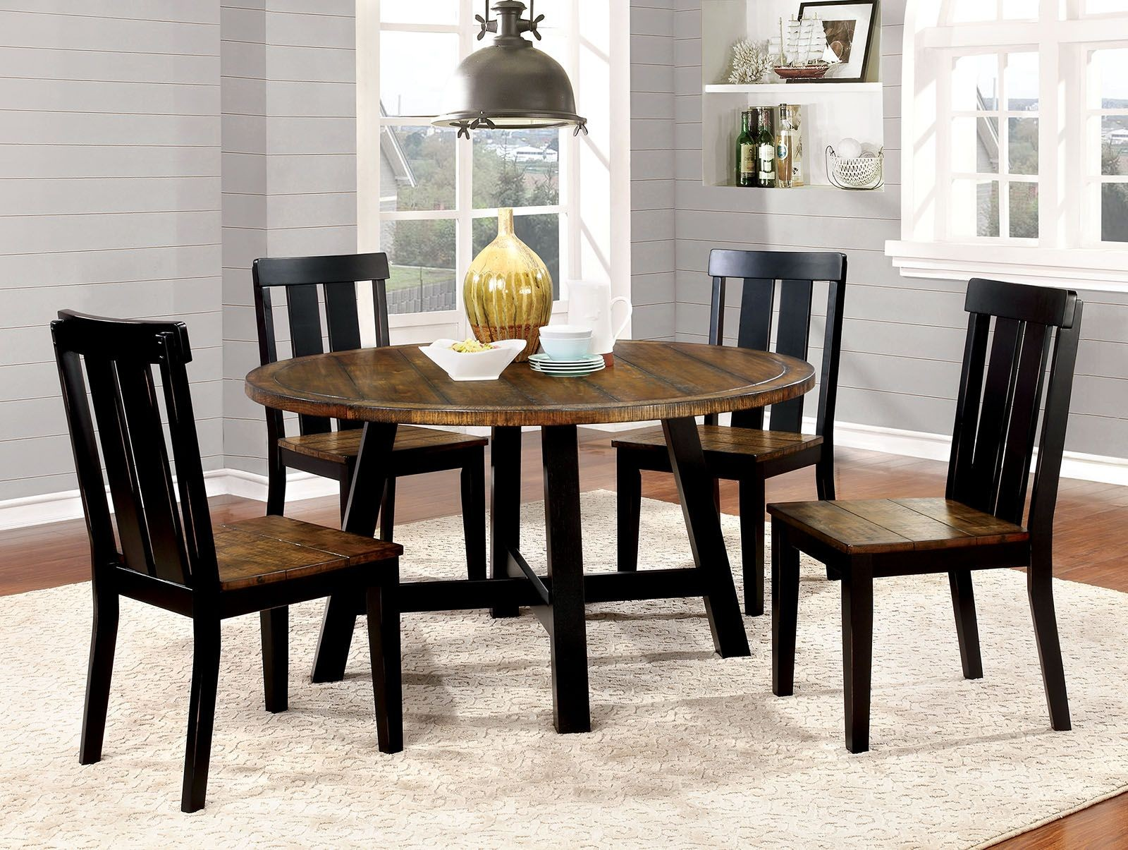 alana antique oak and black round dining room set cm3668rt furniture of america. Black Bedroom Furniture Sets. Home Design Ideas