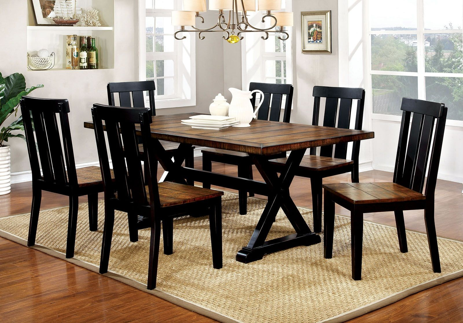 alana antique oak and black rectangular dining room set cm3668t furniture of america. Black Bedroom Furniture Sets. Home Design Ideas
