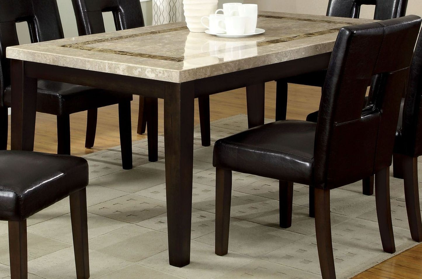 Lisbon i marble top rectangular leg dining table from for One leg dining table