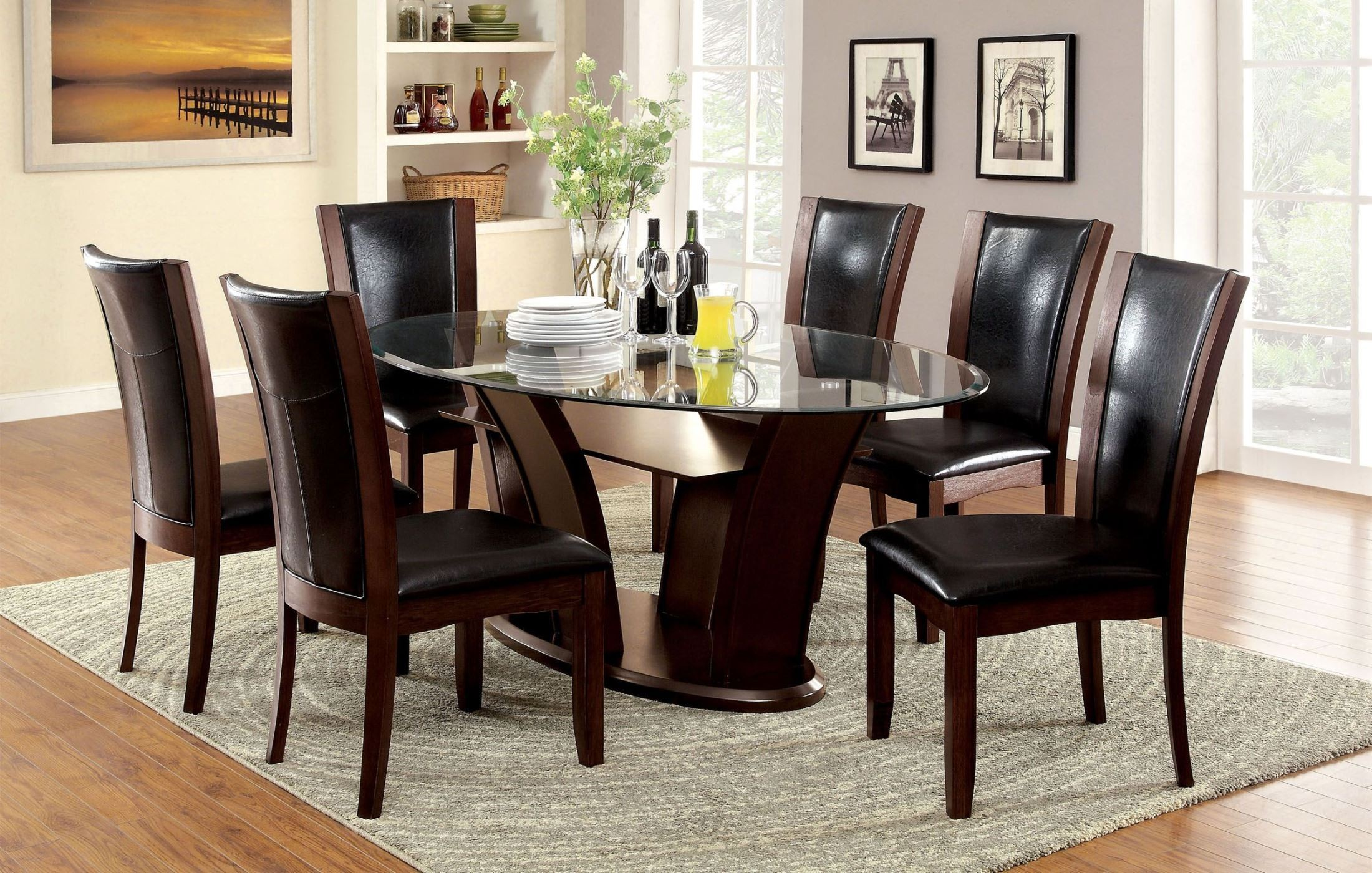 Manhattan i dark cherry oval pedestal dining room set for Cherry dining room set