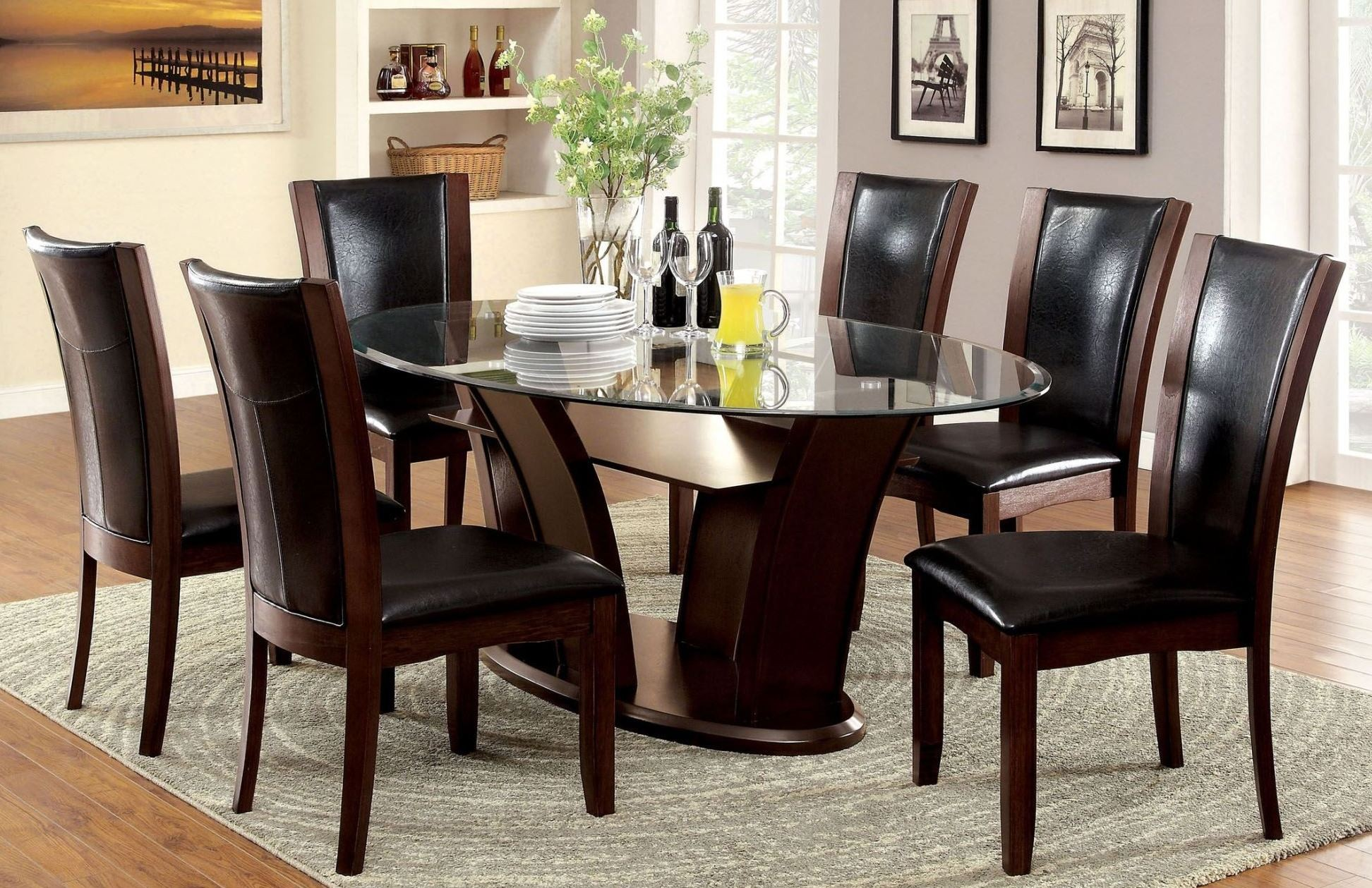 Manhattan i dark cherry oval pedestal dining room set from for Cherry dining room table