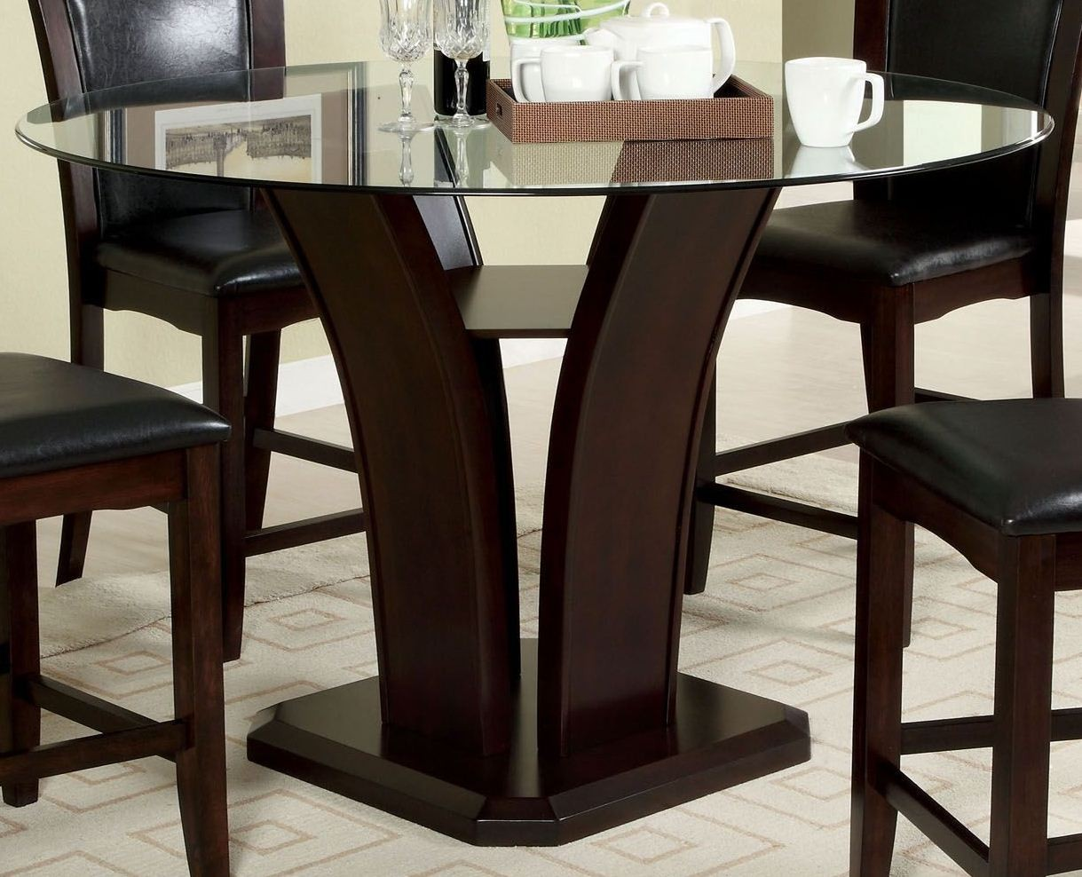 manhattan i dark cherry round pedestal dining room set from furniture of america cm3710rt table. Black Bedroom Furniture Sets. Home Design Ideas