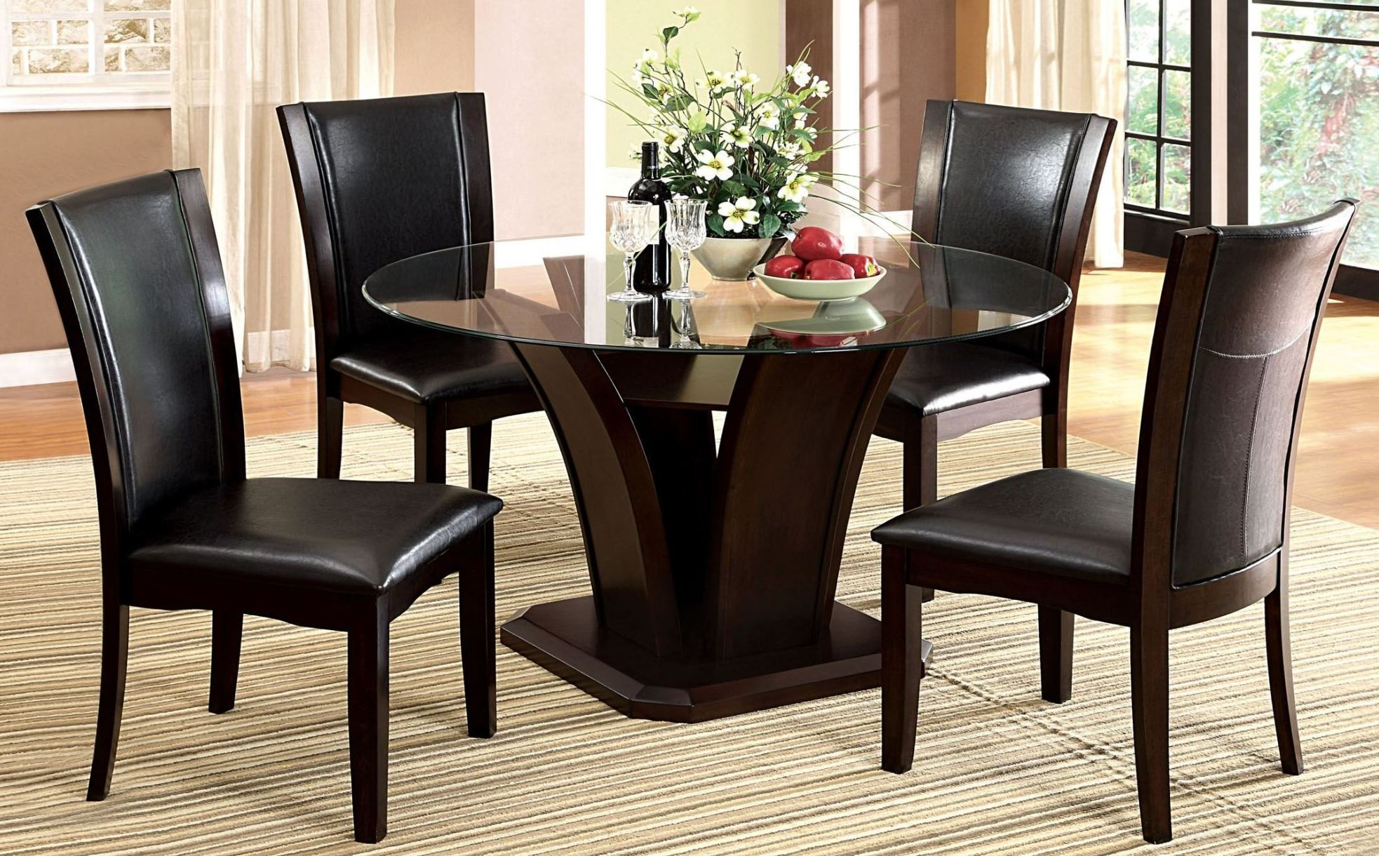 Manhattan i dark cherry round pedestal dining room set for Cherry dining room set