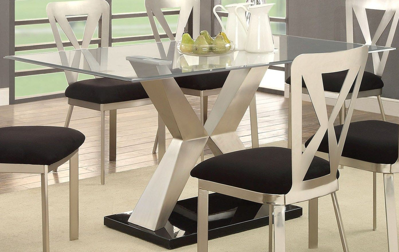 kera silver and black dining room set cm3725t table furniture of