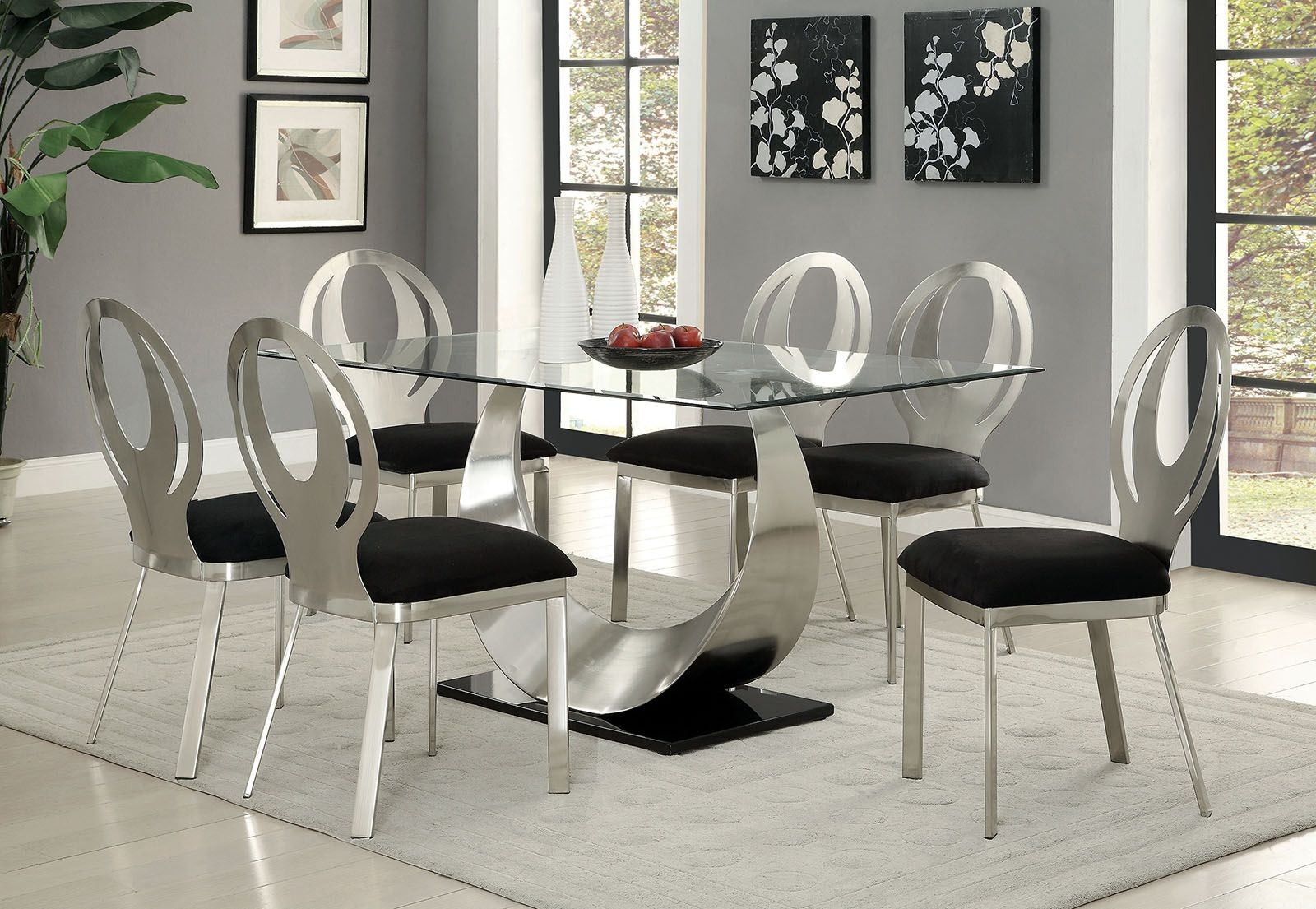 orla silver and black rectangular dining room set cm3726t
