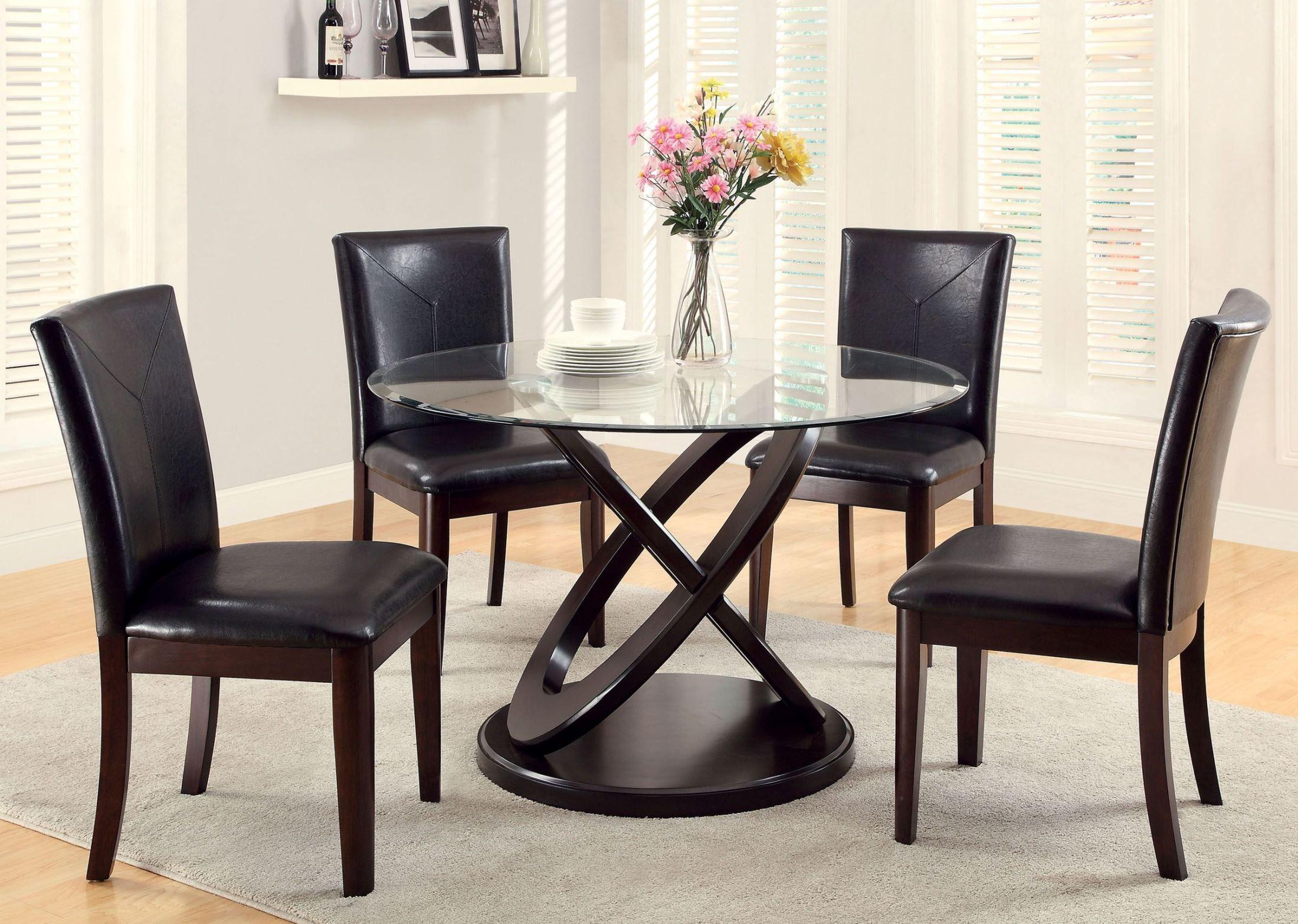 Dark Walnut Glass Top Round Pedestal Dining Room Set CM3774T TABLE