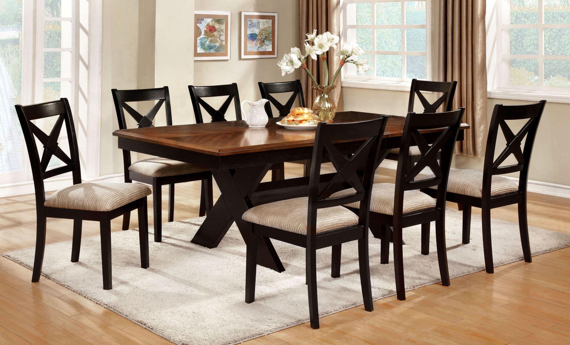 Liberta dark oak rectangular trestle dining room set for Trestle dining room sets