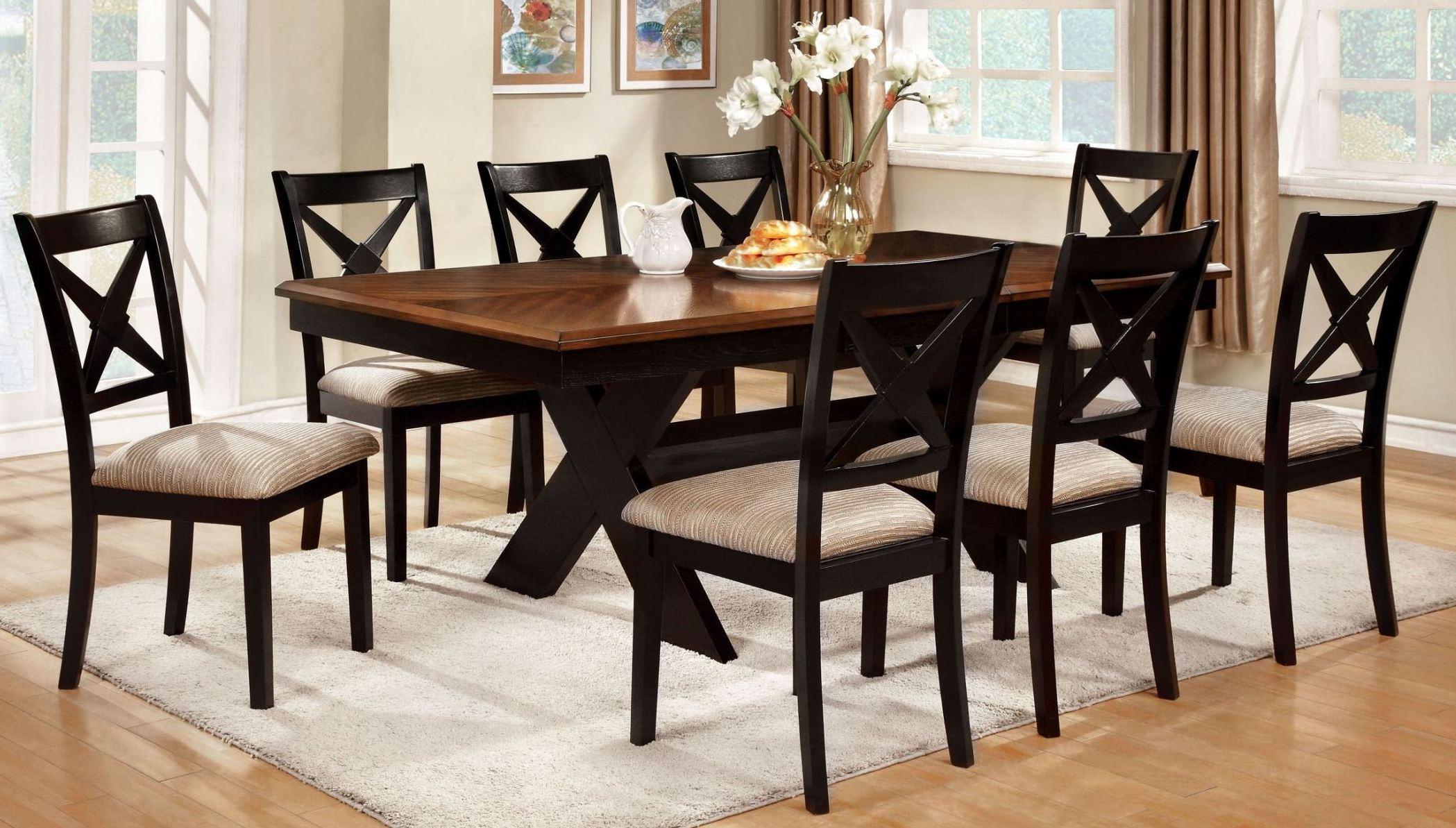 liberta dark oak rectangular trestle dining room set from furniture of america cm3776t table. Black Bedroom Furniture Sets. Home Design Ideas